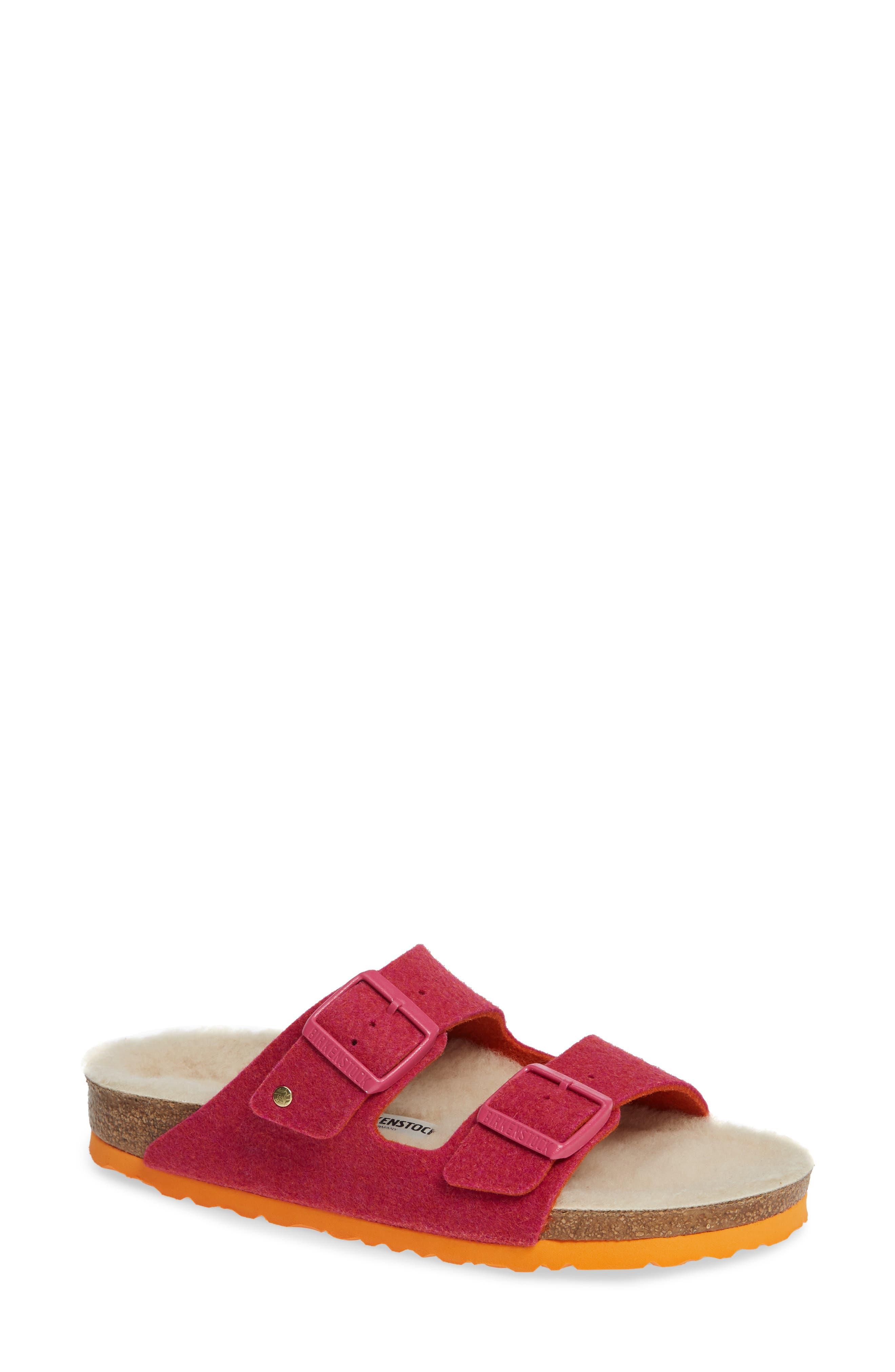 Arizona Happy Slide Sandal, Main, color, FUCHSIA WOOL