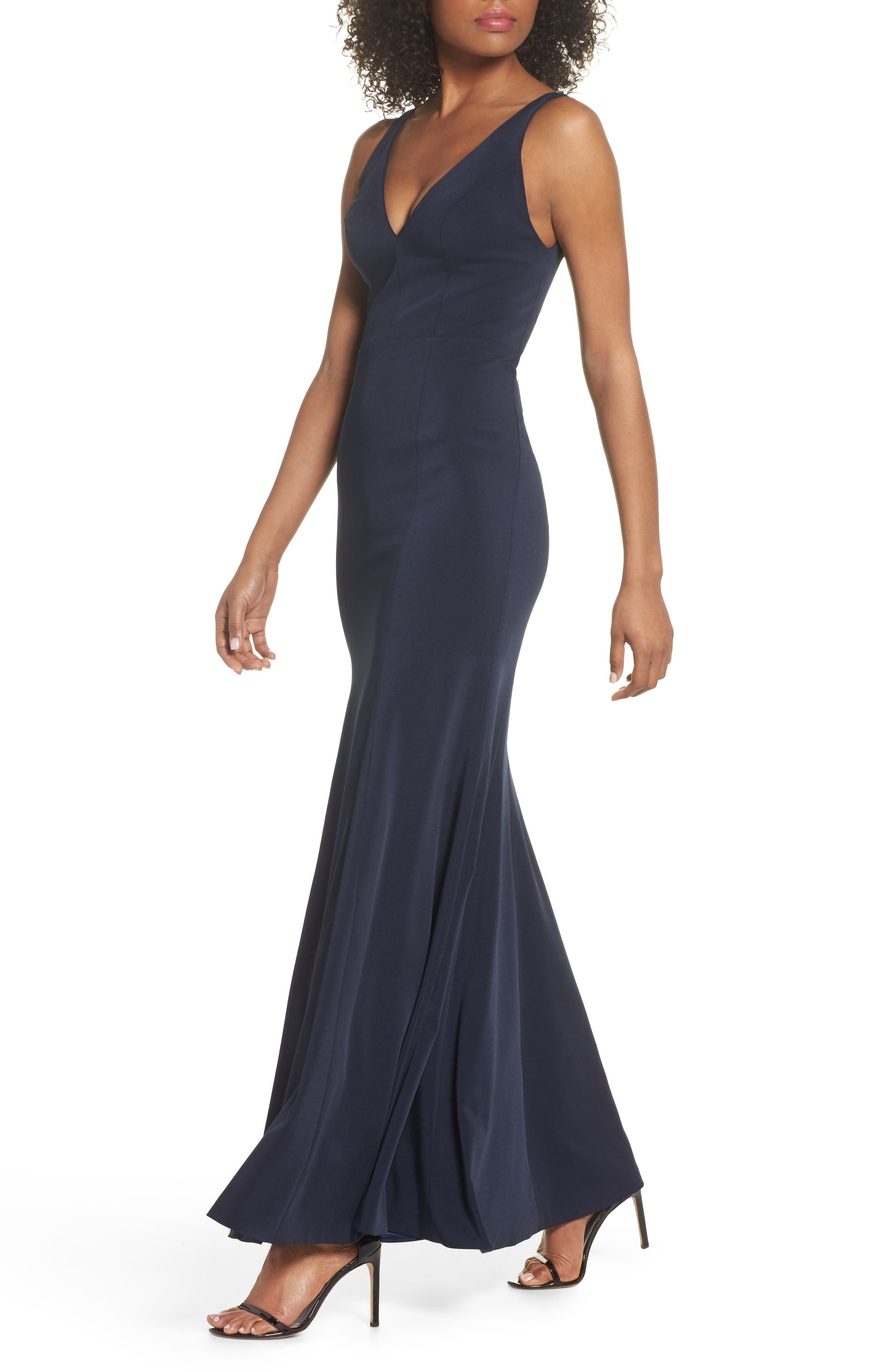 Jade Luxe Crepe V-Neck Gown,                             Alternate thumbnail 4, color,                             MIDNIGHT