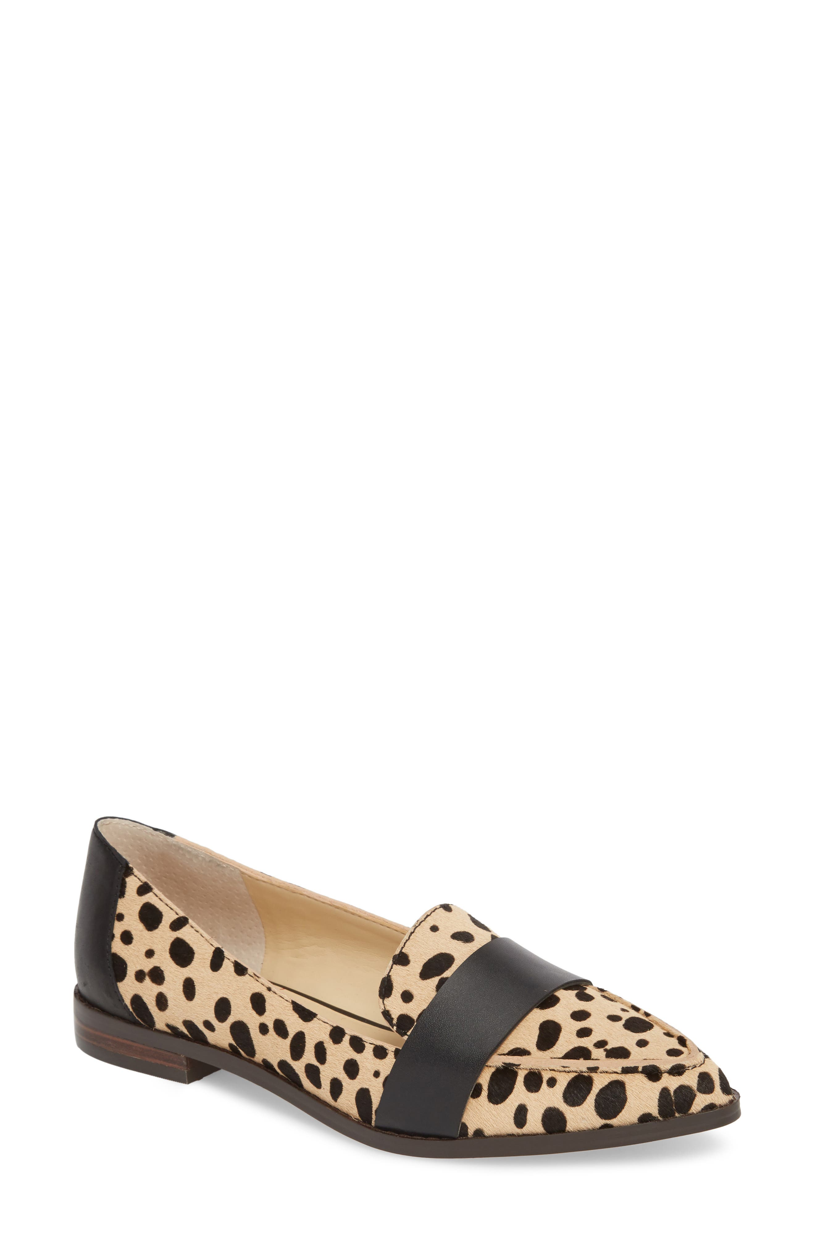 Edie Pointy Toe Loafer,                         Main,                         color, TAN/ BLACK DOT