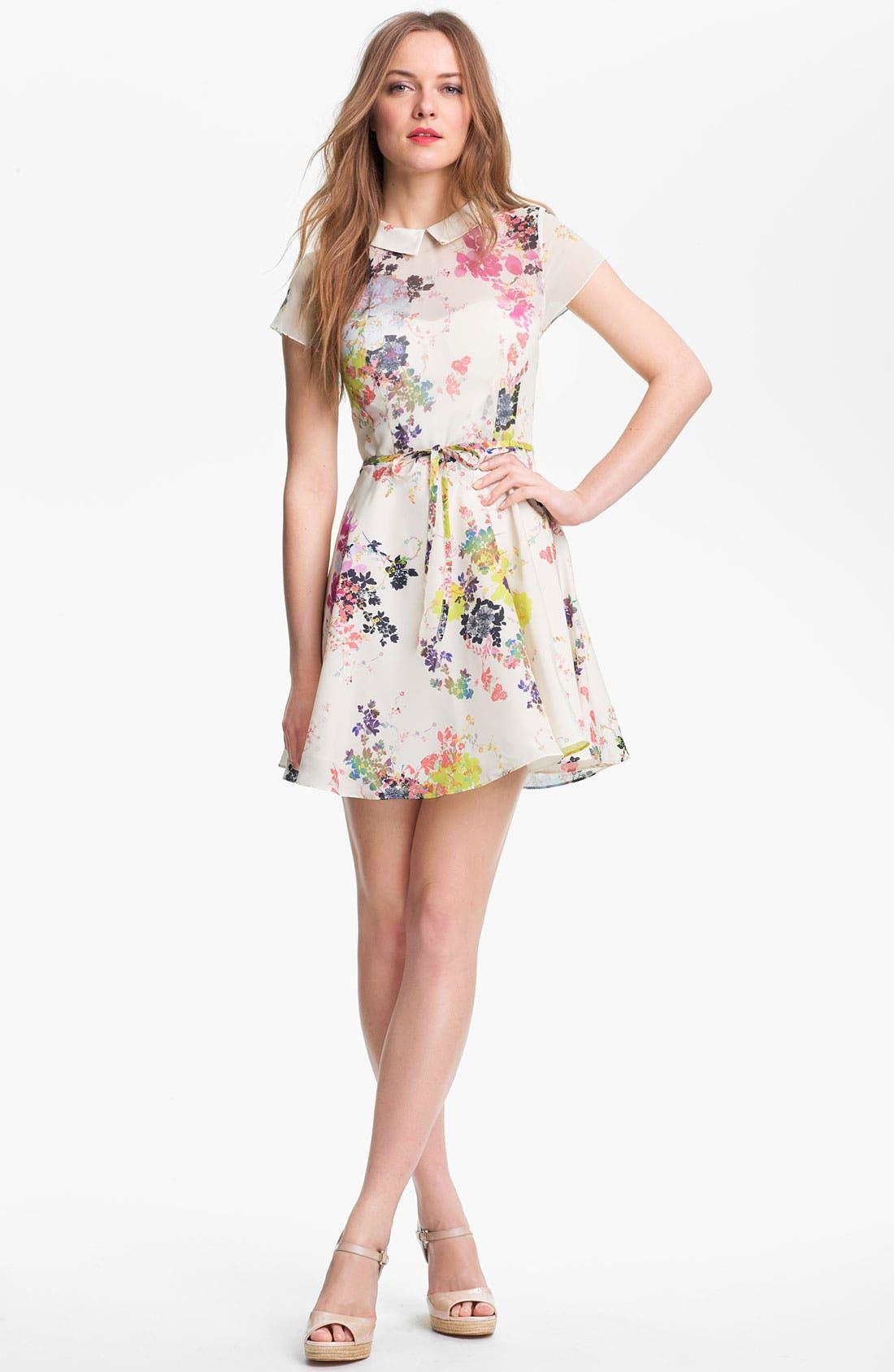 Print Fit & Flare Dress,                         Main,                         color, 900