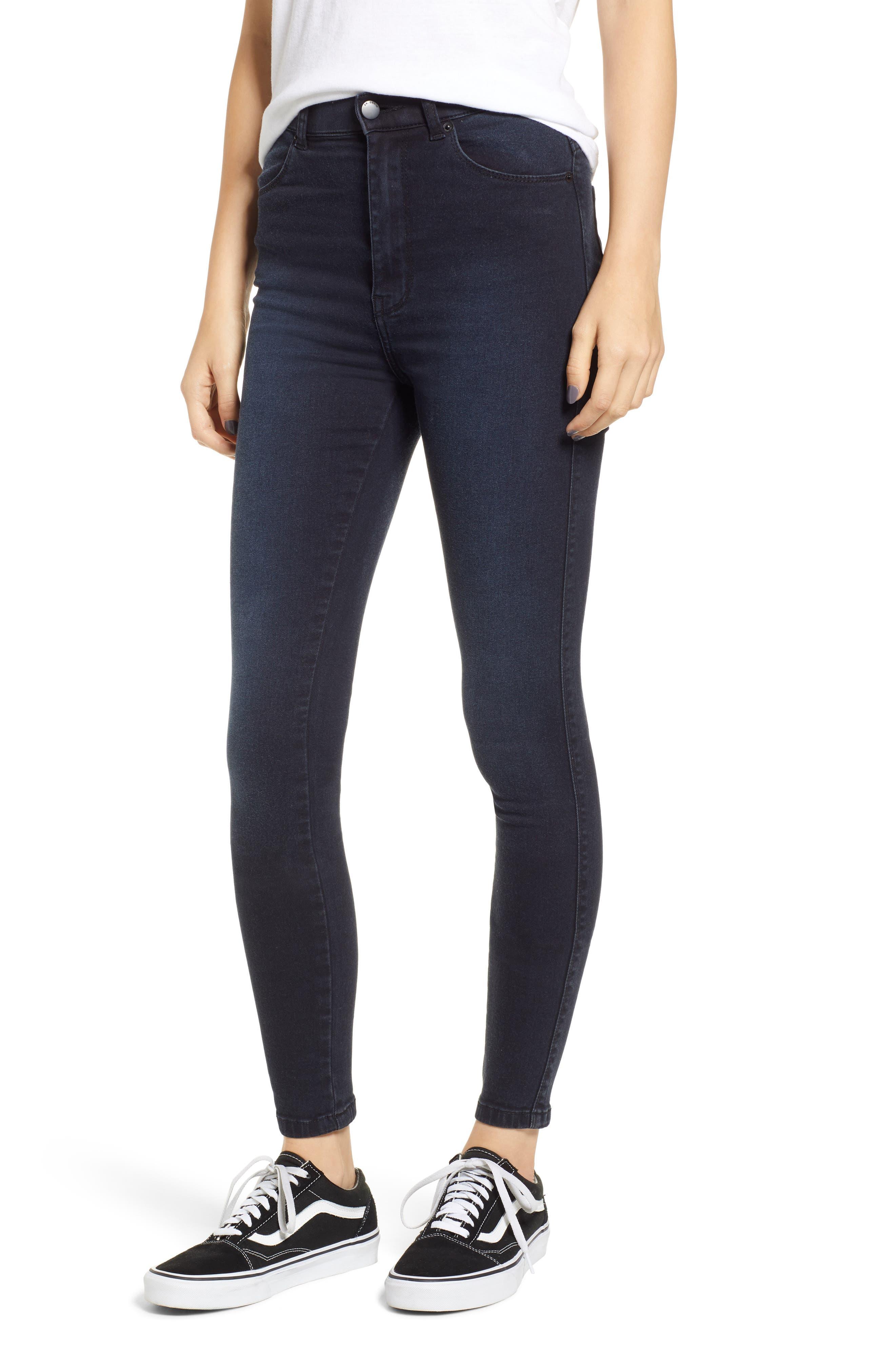 Moxy Skinny Jeans,                         Main,                         color, PITCH DARK BLUE