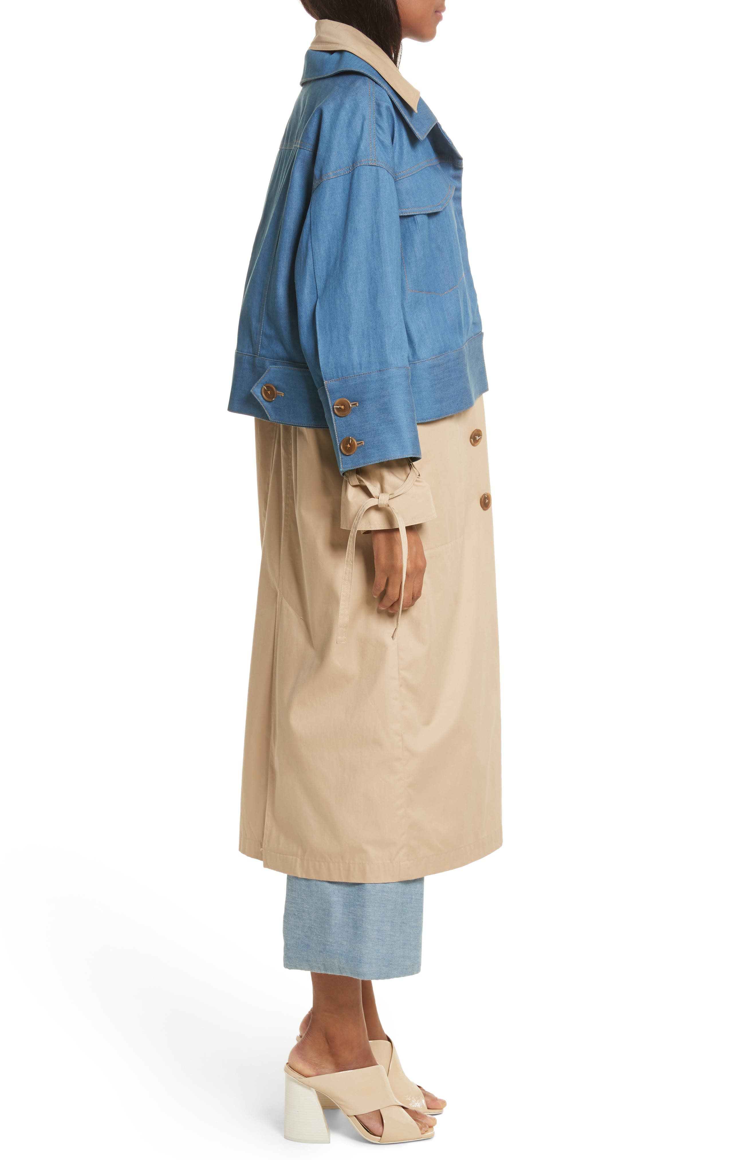 Denim Overlay Trench Coat,                             Alternate thumbnail 3, color,