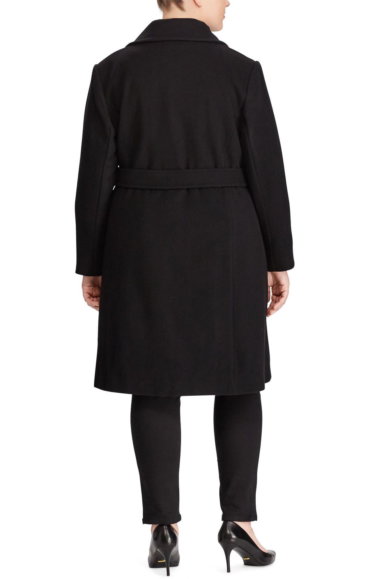 Wool Blend Wrap Coat,                             Alternate thumbnail 2, color,                             BLACK