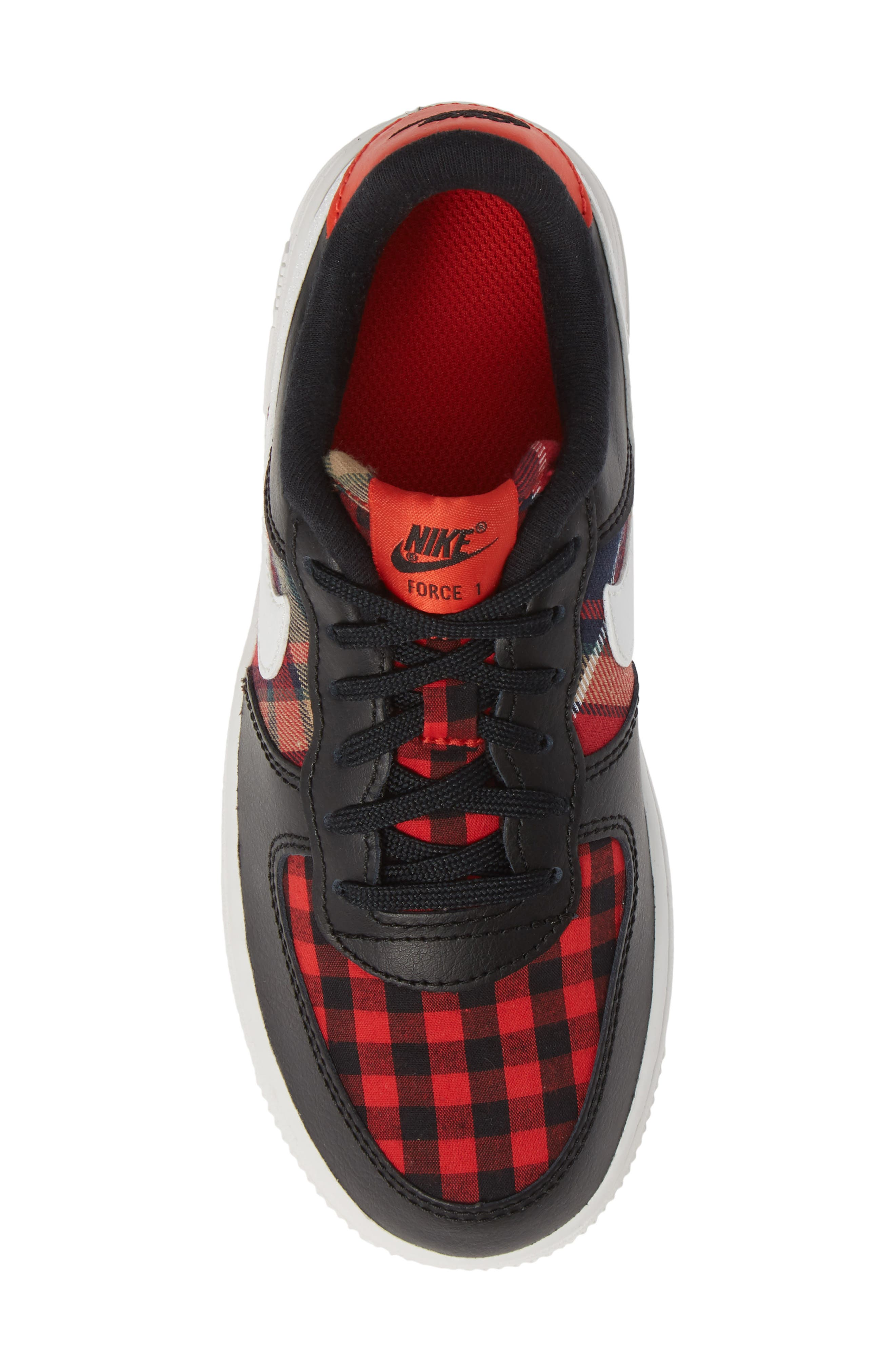 Air Force 1 LV8 Sneaker,                             Alternate thumbnail 5, color,                             BLACK SUMMIT WHITE RED