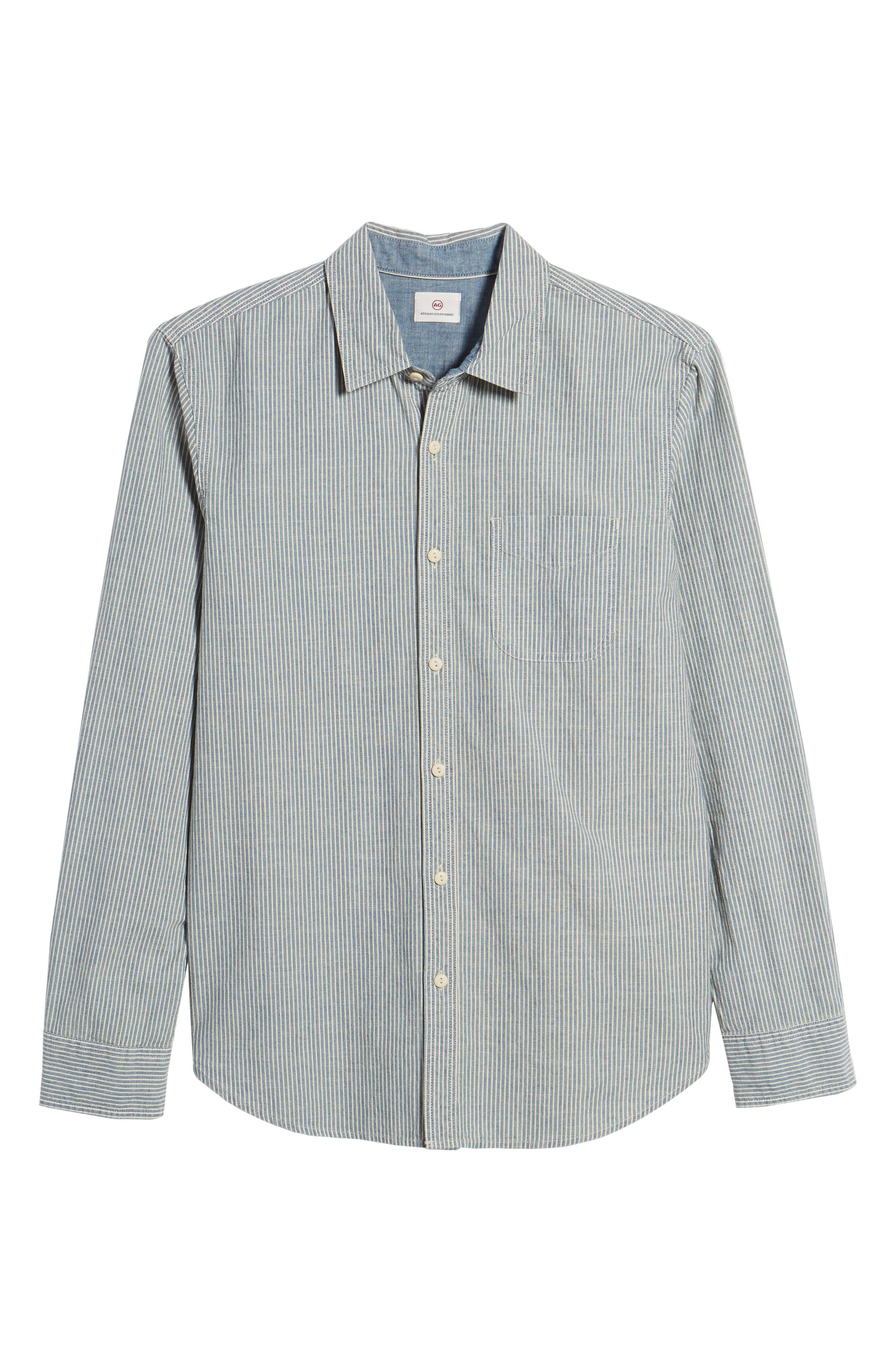 Nelson Slim Fit Stripe Sport Shirt,                             Alternate thumbnail 6, color,                             049