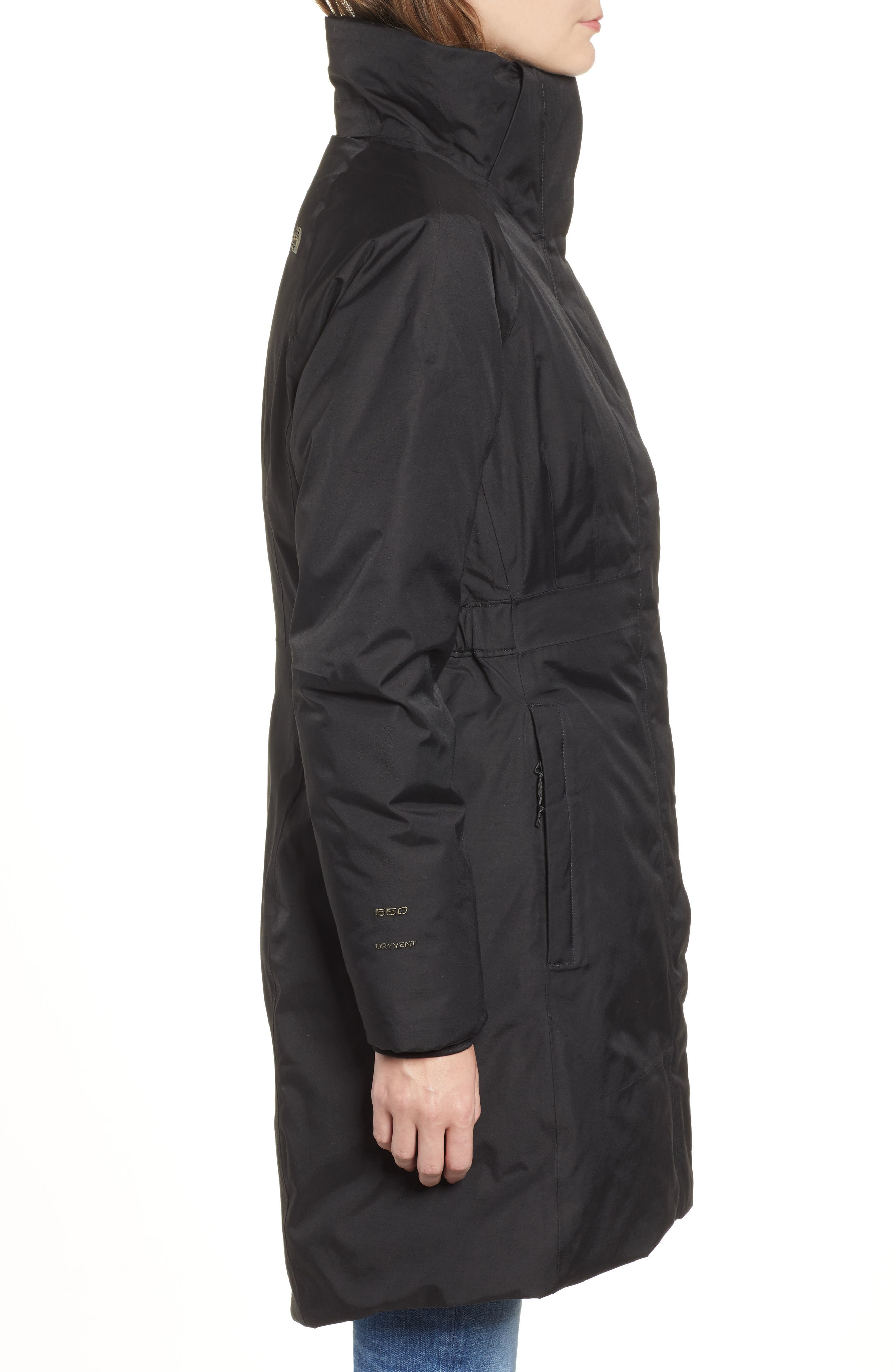 THE NORTH FACE,                             Arctic II Waterproof 550 Fill Power Down Parka with Faux Fur Trim,                             Alternate thumbnail 3, color,                             001