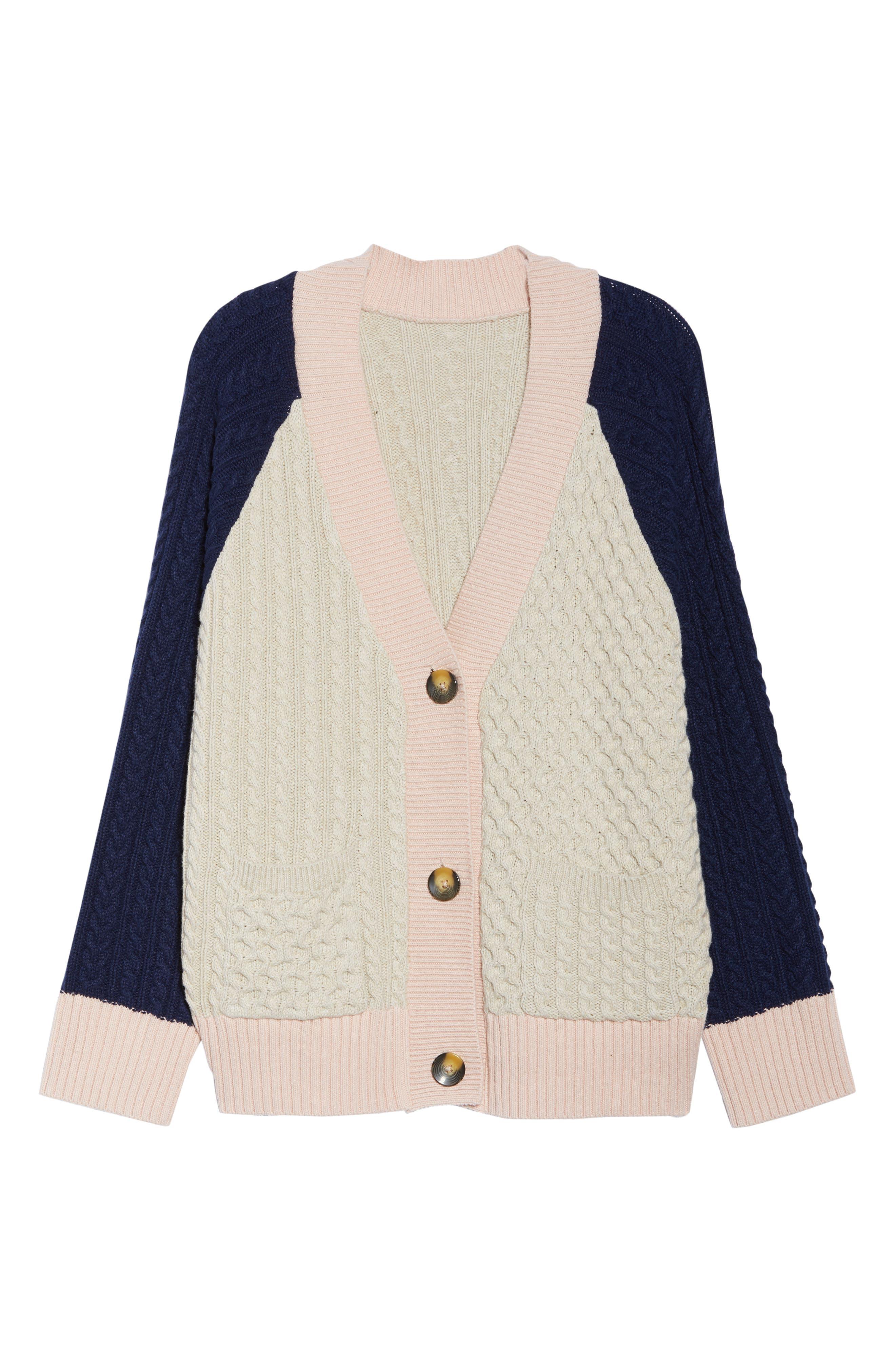 Colorblock Cable Knit Button Cardigan,                             Alternate thumbnail 7, color,                             900