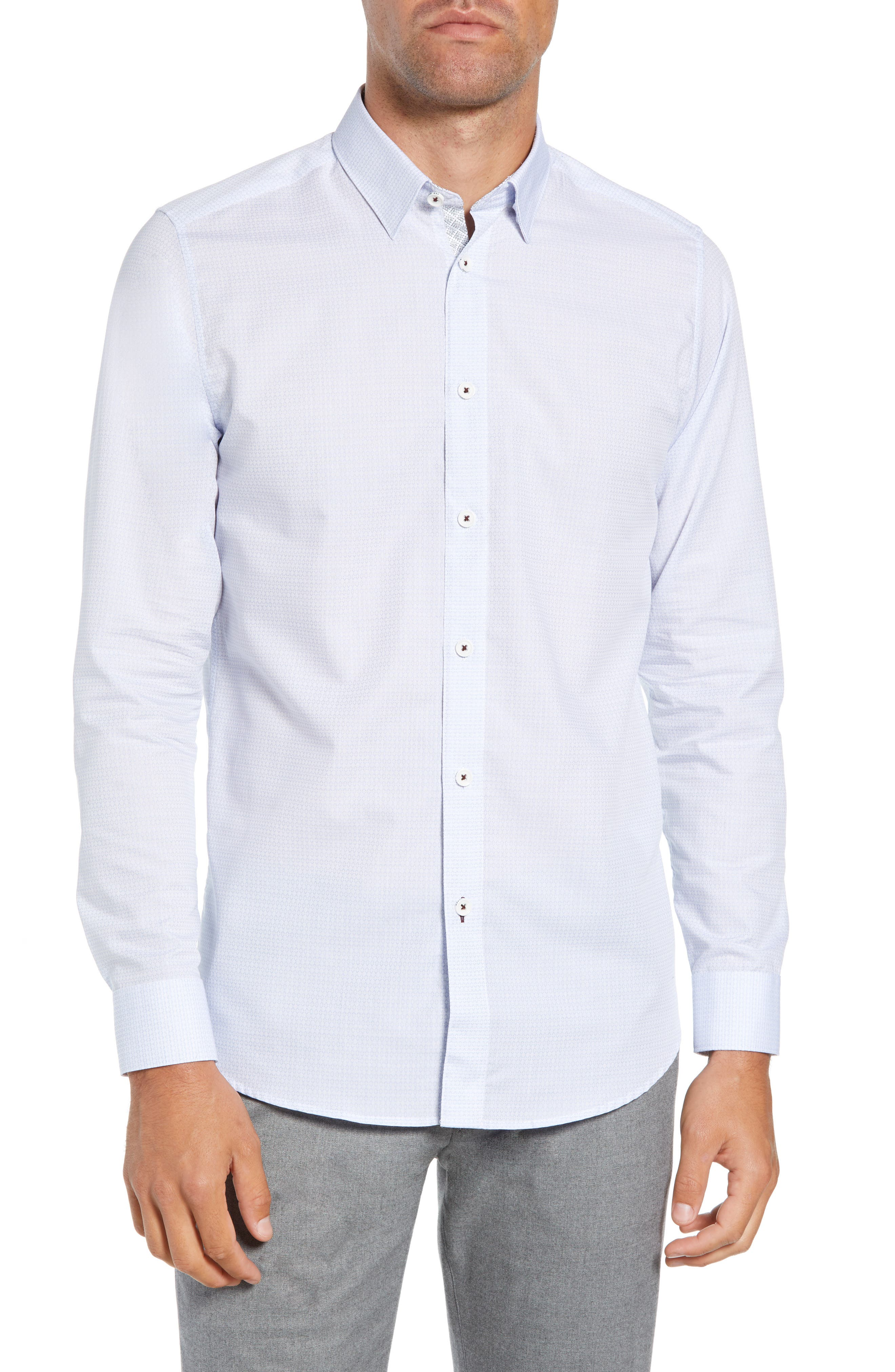 Myll Slim Fit Jacquard Sport Shirt,                         Main,                         color, WHITE