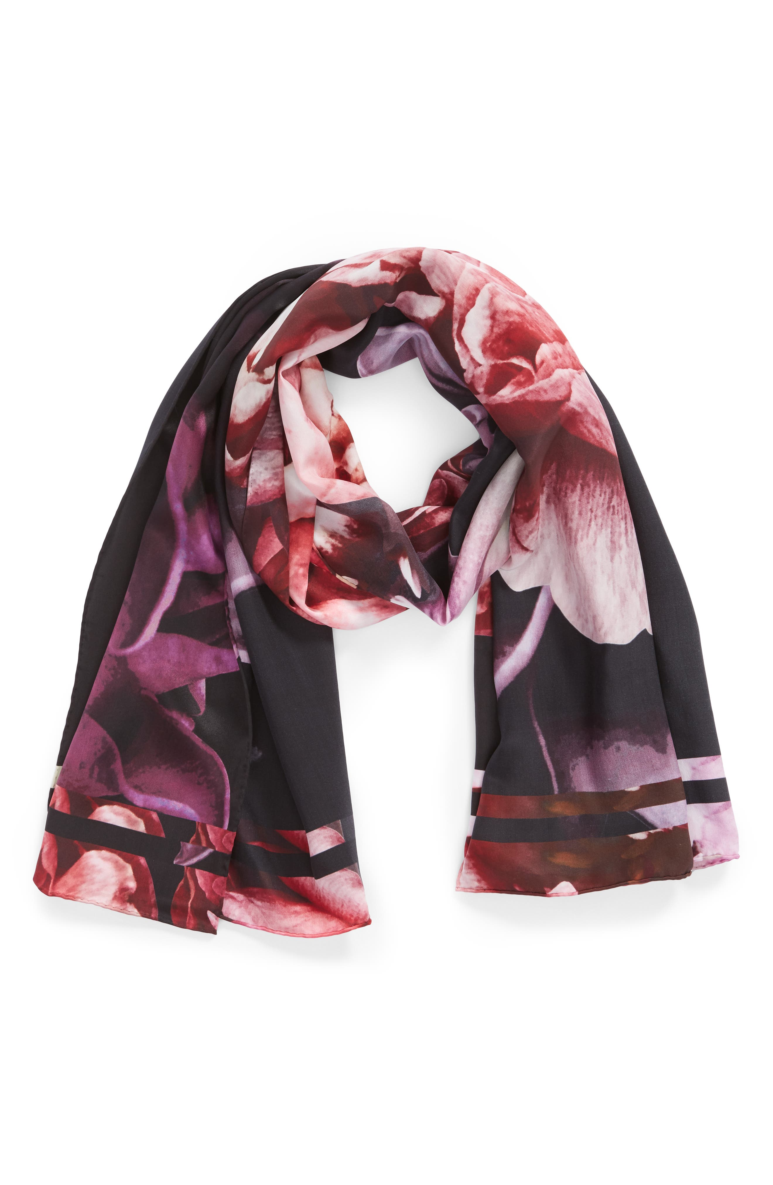 Splendour Silk Scarf,                             Alternate thumbnail 2, color,                             BLACK