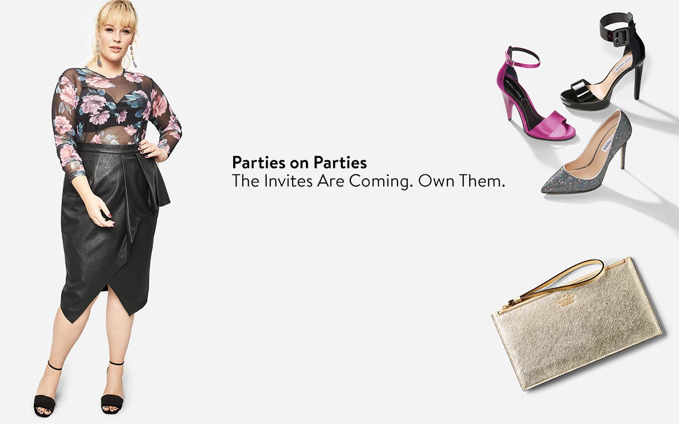 Plus-size party clothing and accessories.