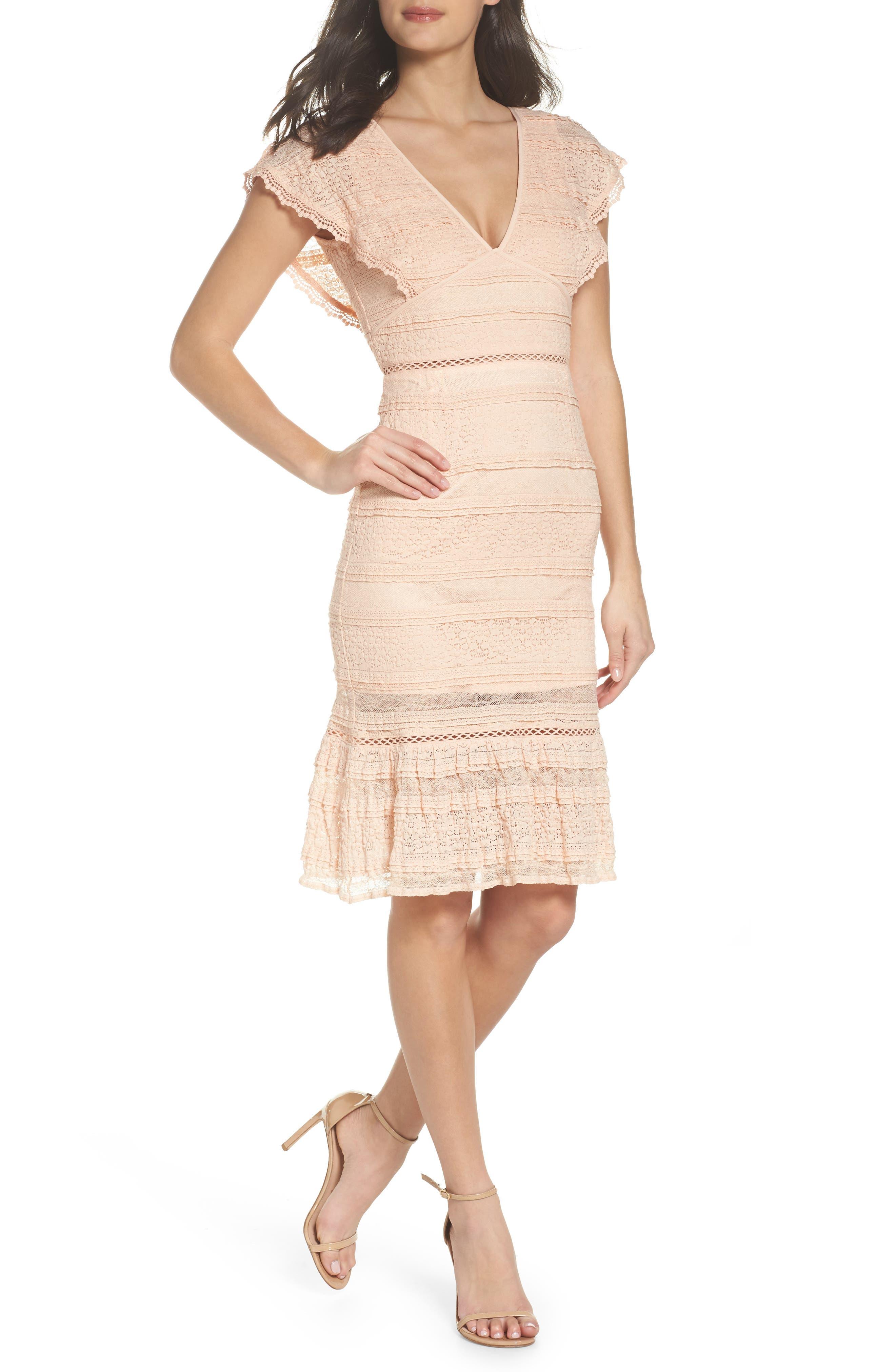 Makayla Flutter Trim Lace Sheath Dress,                             Main thumbnail 1, color,