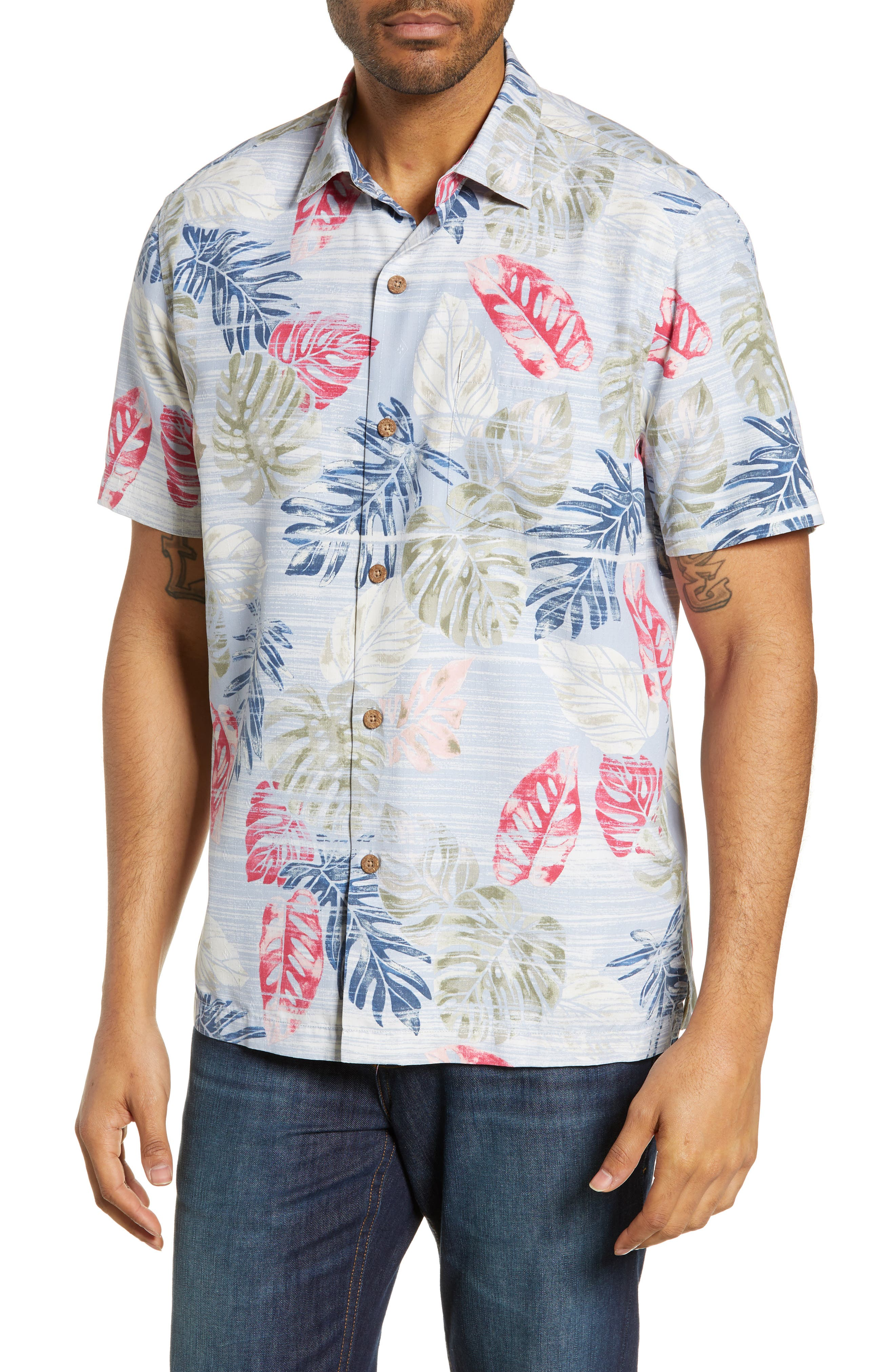 TOMMY BAHAMA,                             Botanica Sketch Silk Blend Shirt,                             Main thumbnail 1, color,                             CANYON SKY