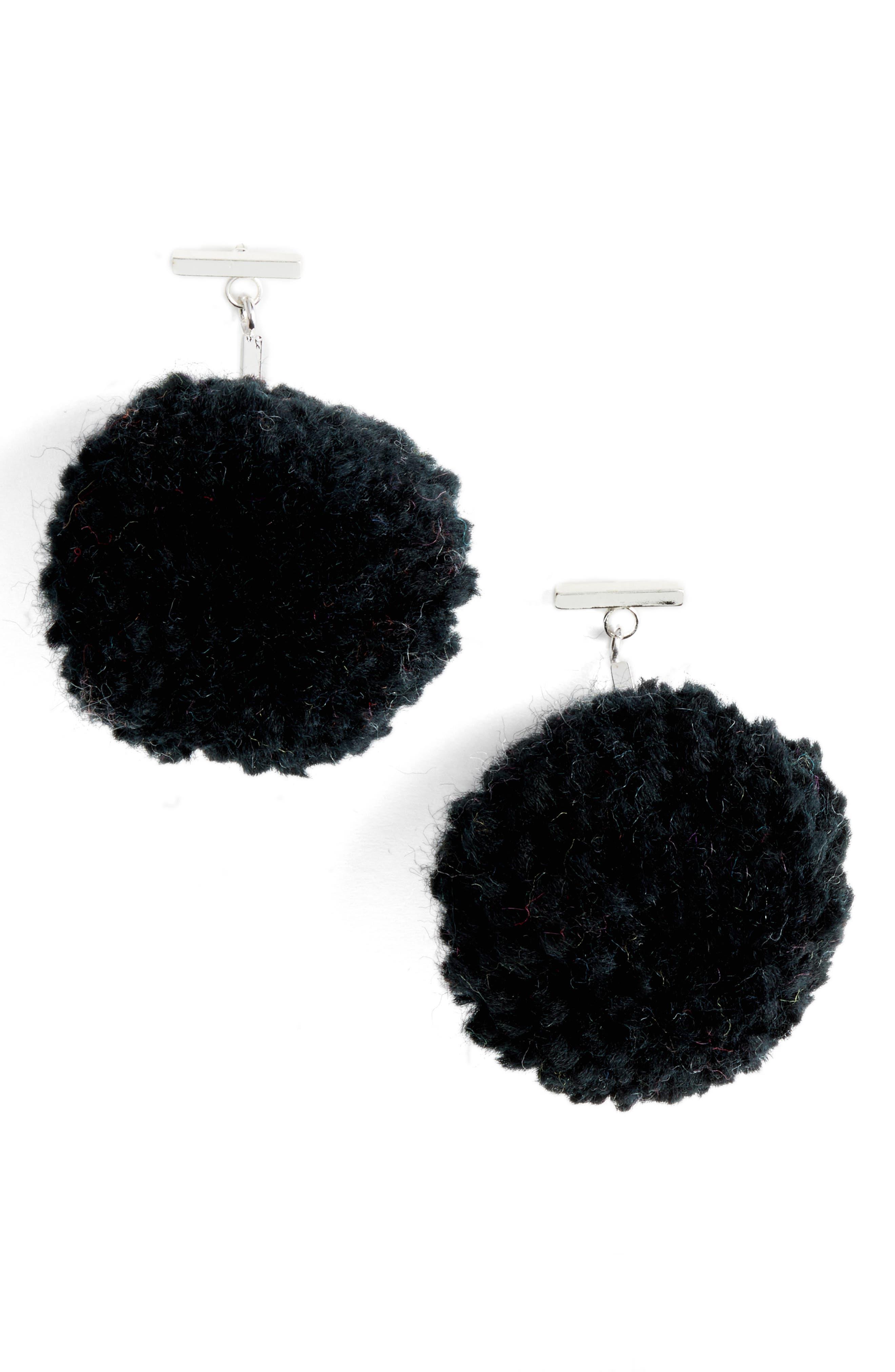 Pompom Drop Earrings,                         Main,                         color, 001