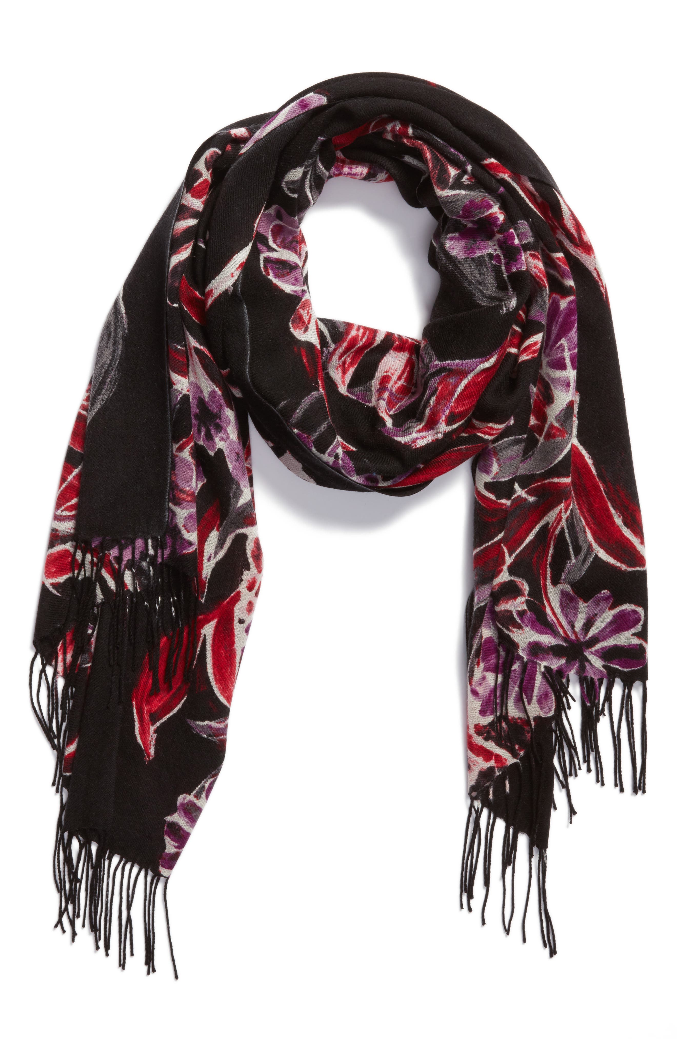 Pressed Flowers Tissue Weight Wool & Cashmere Scarf,                             Alternate thumbnail 4, color,