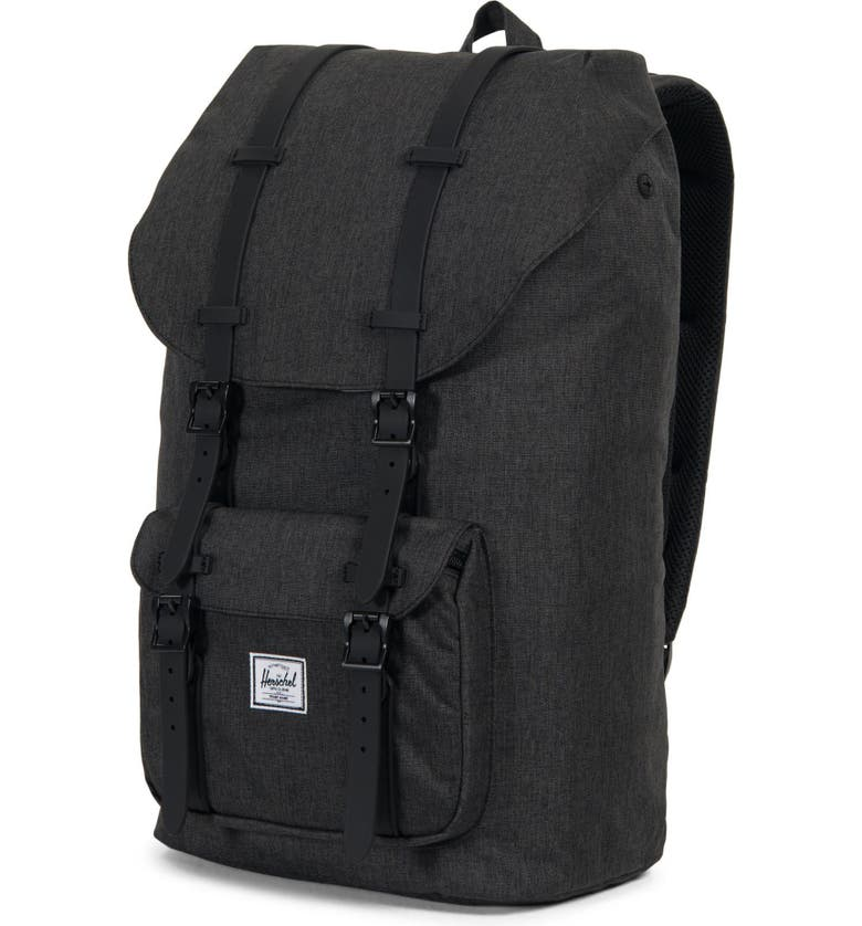 Herschel Supply Co. Little America Backpack - Black In Black Crosshatch   Black Rubber c67cc9389a5