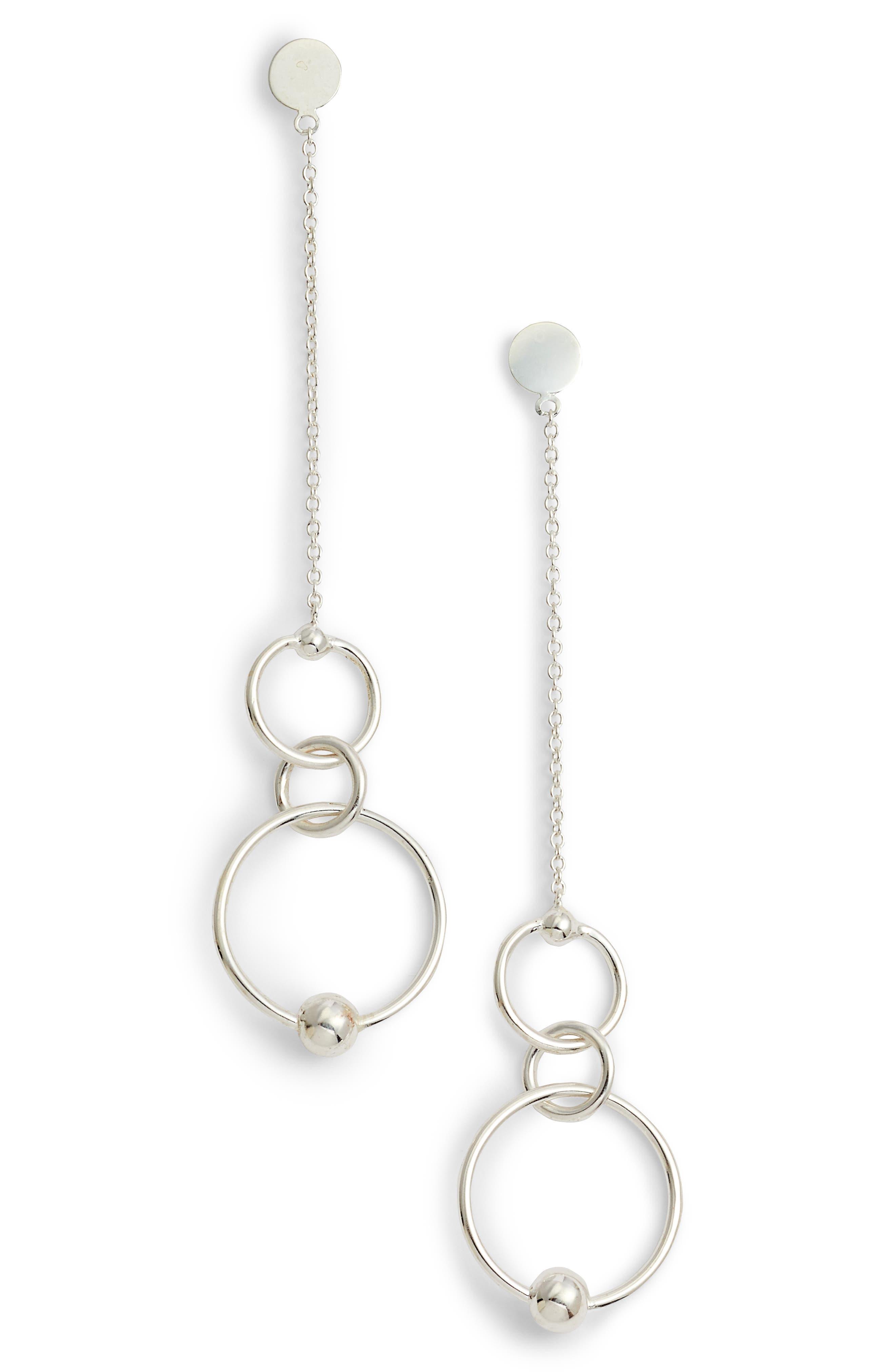 ARGENTO VIVO,                             Linear Open Ring Drop Earrings,                             Main thumbnail 1, color,                             040