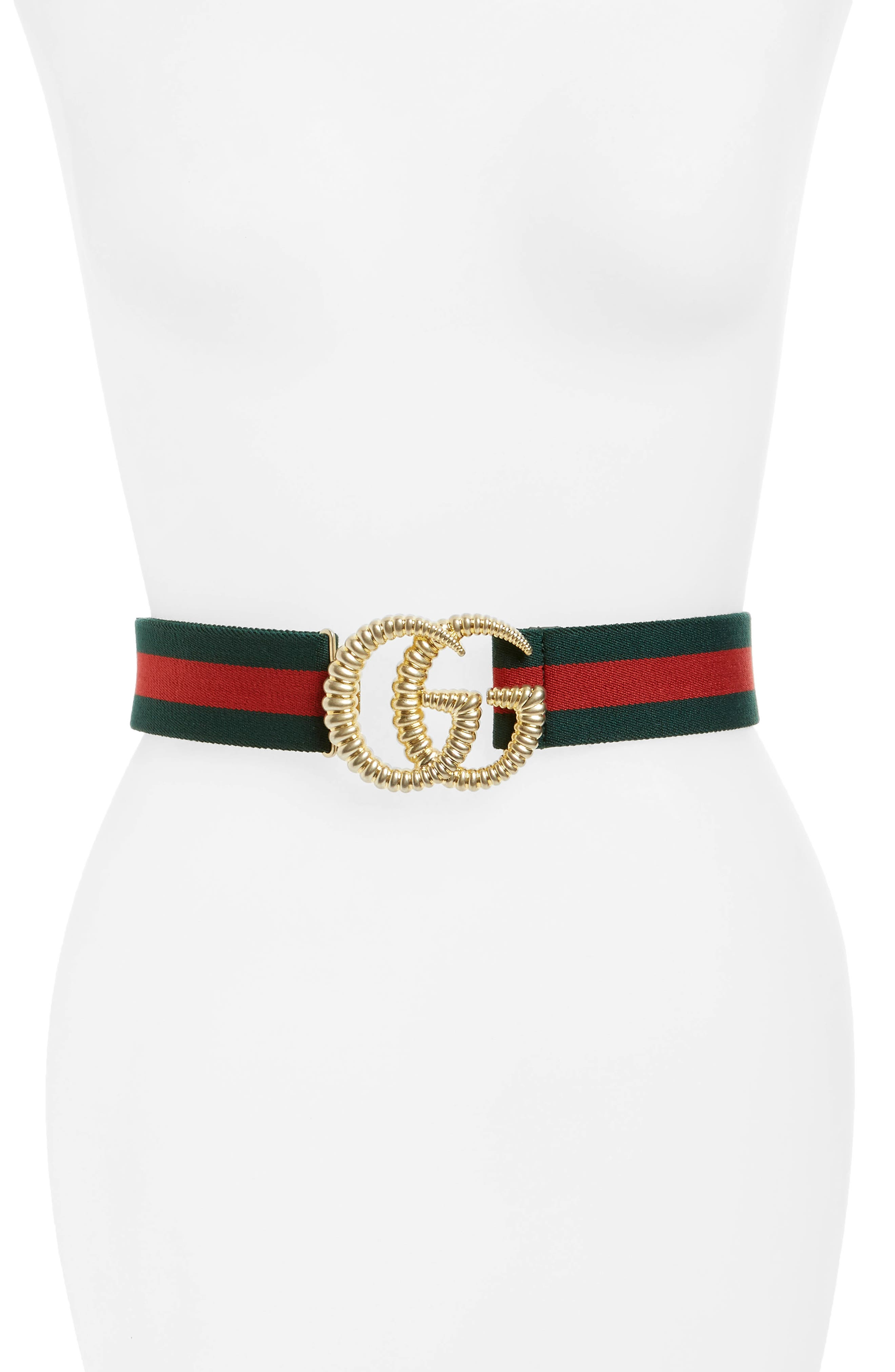 Gucci Logo Buckle Stripe Webbed Belt, Verde