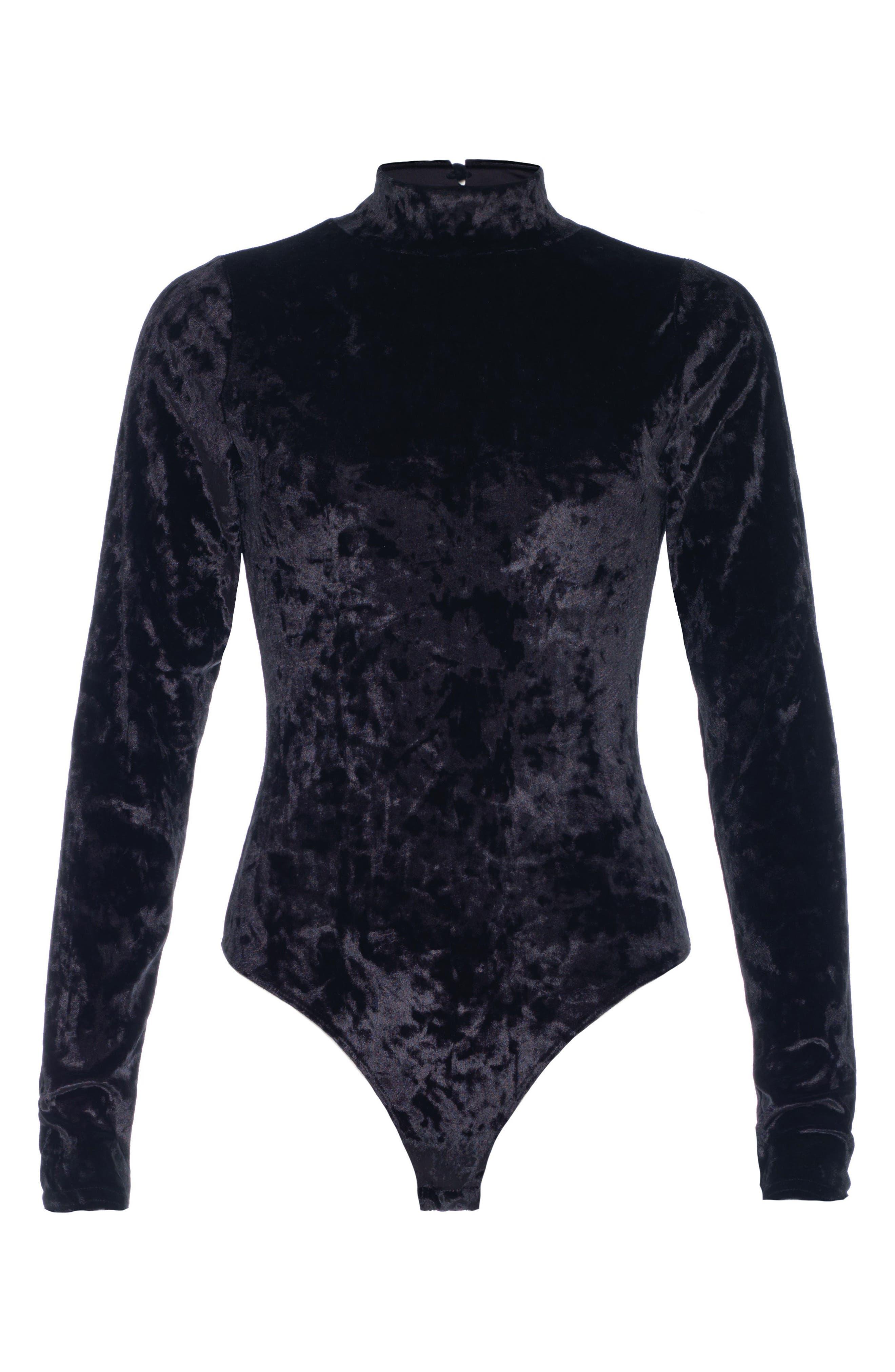 Taylor Hill x Joe's Mock Neck Velvet Bodysuit,                             Alternate thumbnail 3, color,                             011