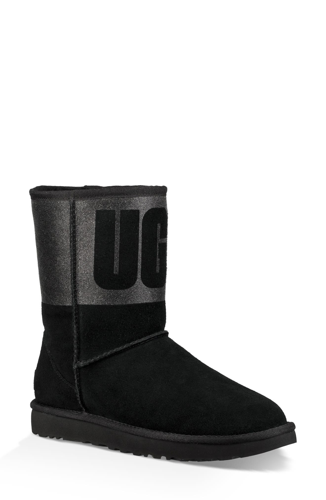 UGG<SUP>®</SUP>,                             Sparkle Classic Genuine Shearling Lined Bootie,                             Main thumbnail 1, color,                             001