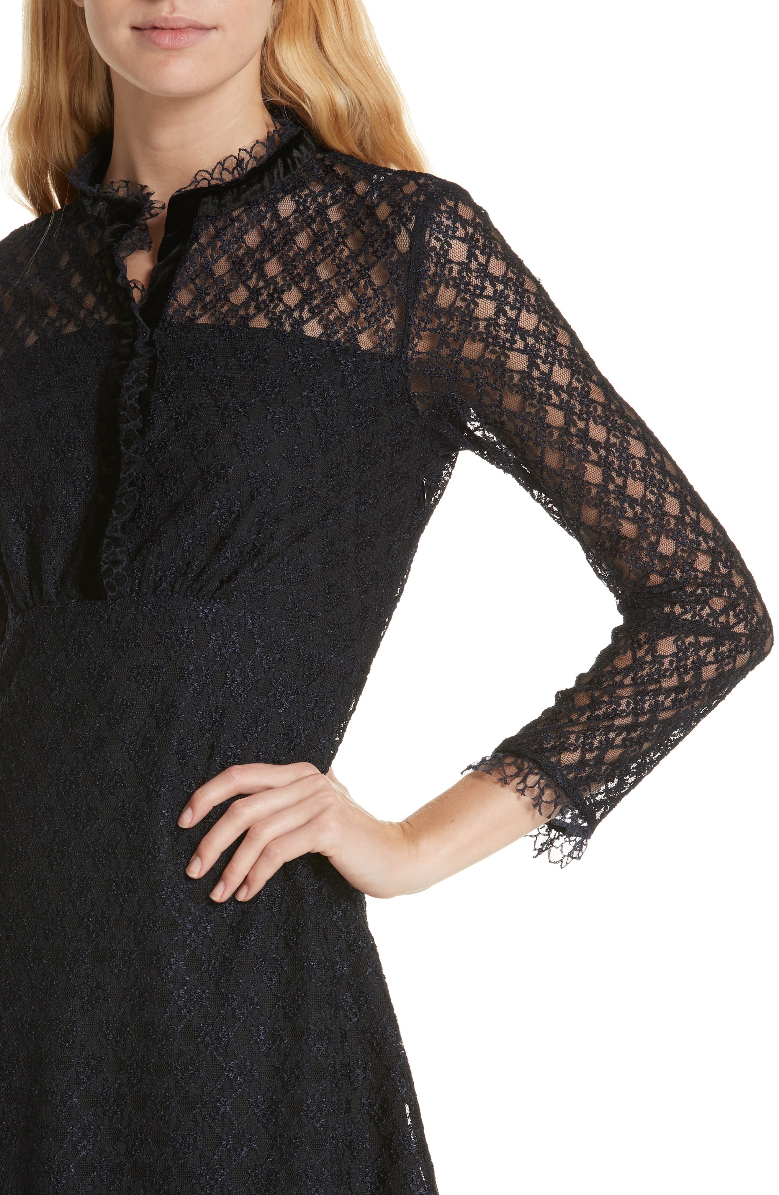 Lace Overlay Mini Dress,                             Alternate thumbnail 4, color,                             405