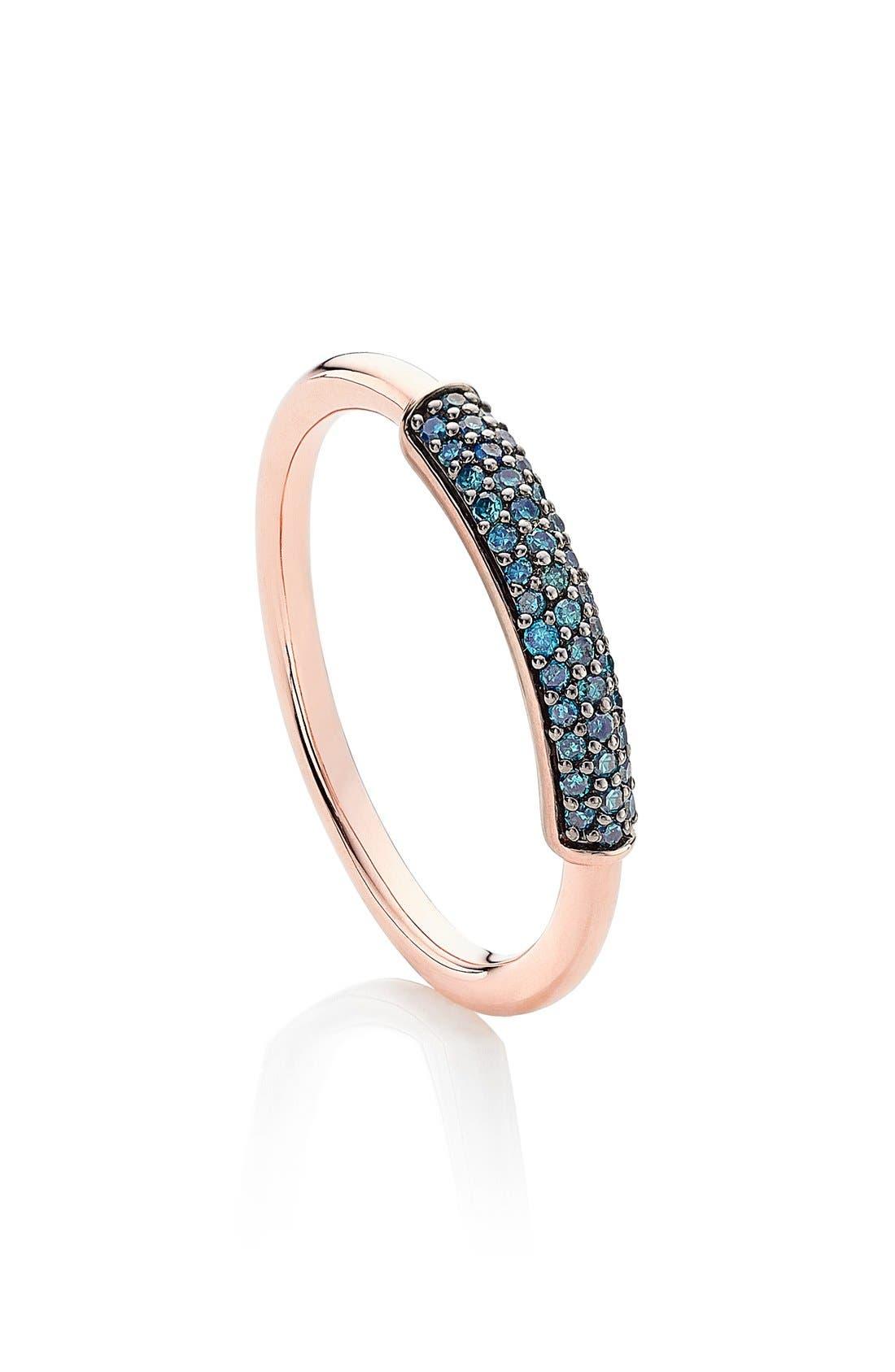 'Stellar' Diamond Band Ring,                             Main thumbnail 1, color,                             BLUE DIAMOND/ ROSE GOLD