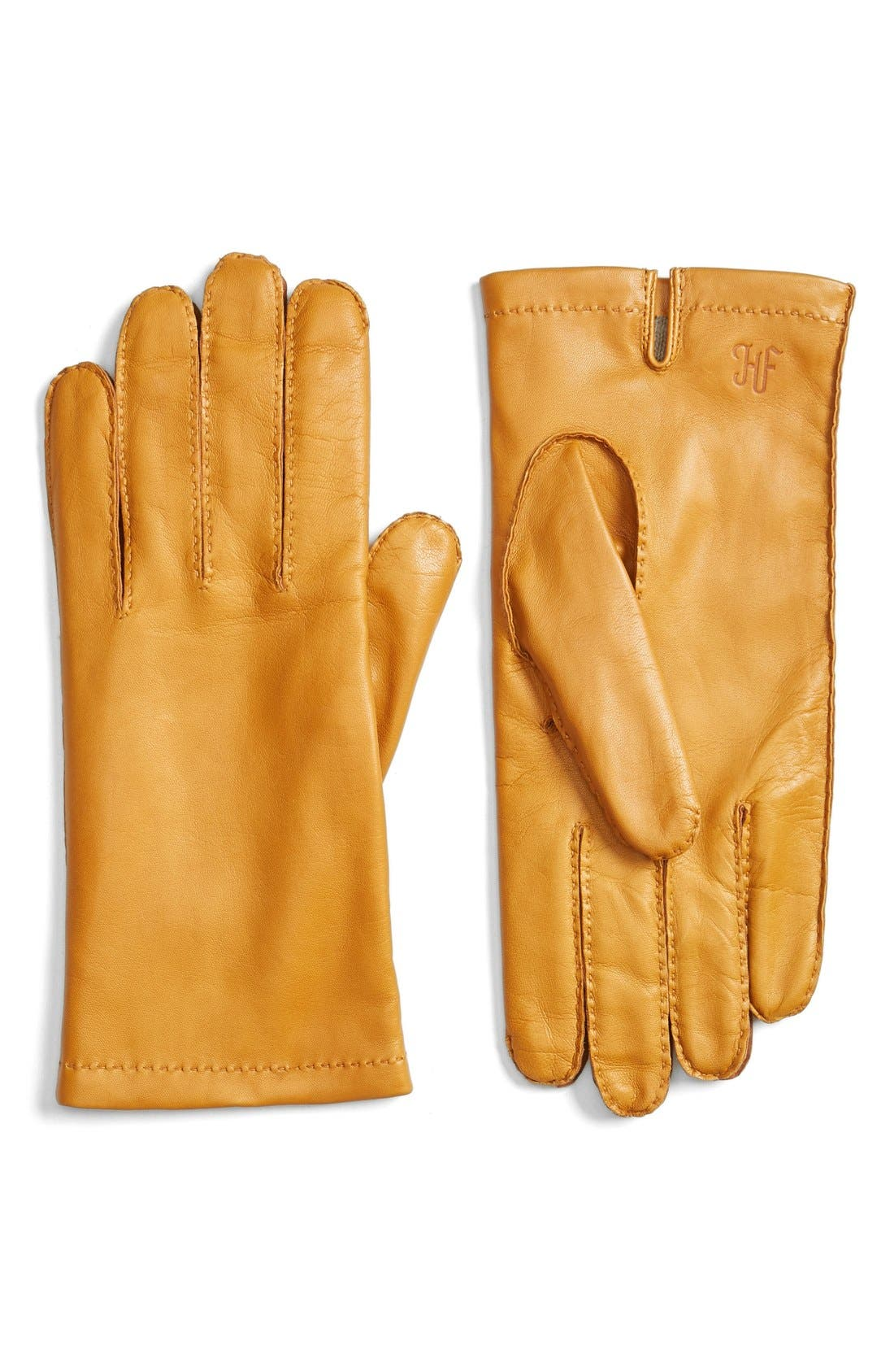 Classic Contrast Leather Gloves,                         Main,                         color, OLD GOLD