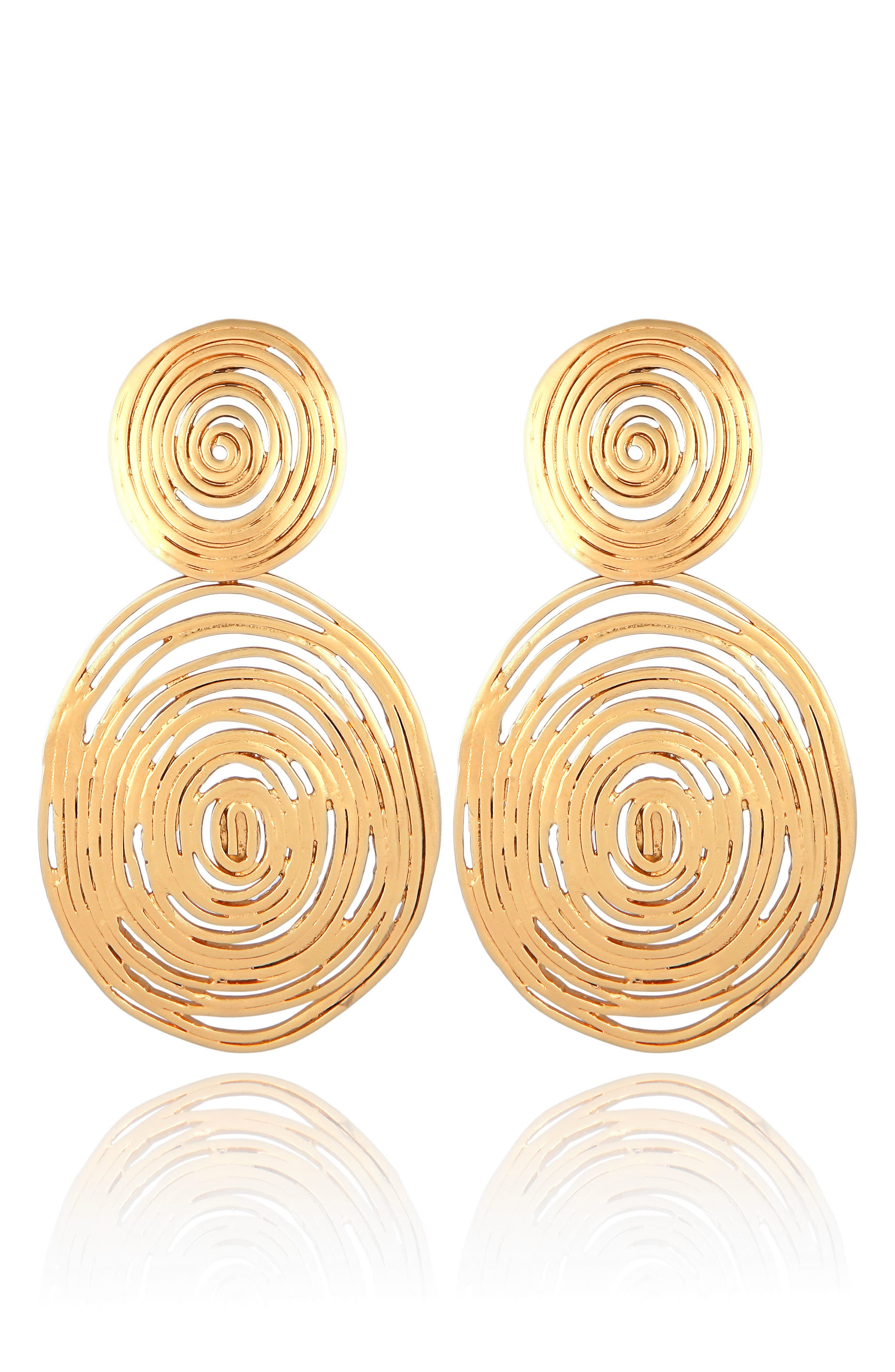 Wave Double Drop Earrings,                             Alternate thumbnail 2, color,                             GOLD