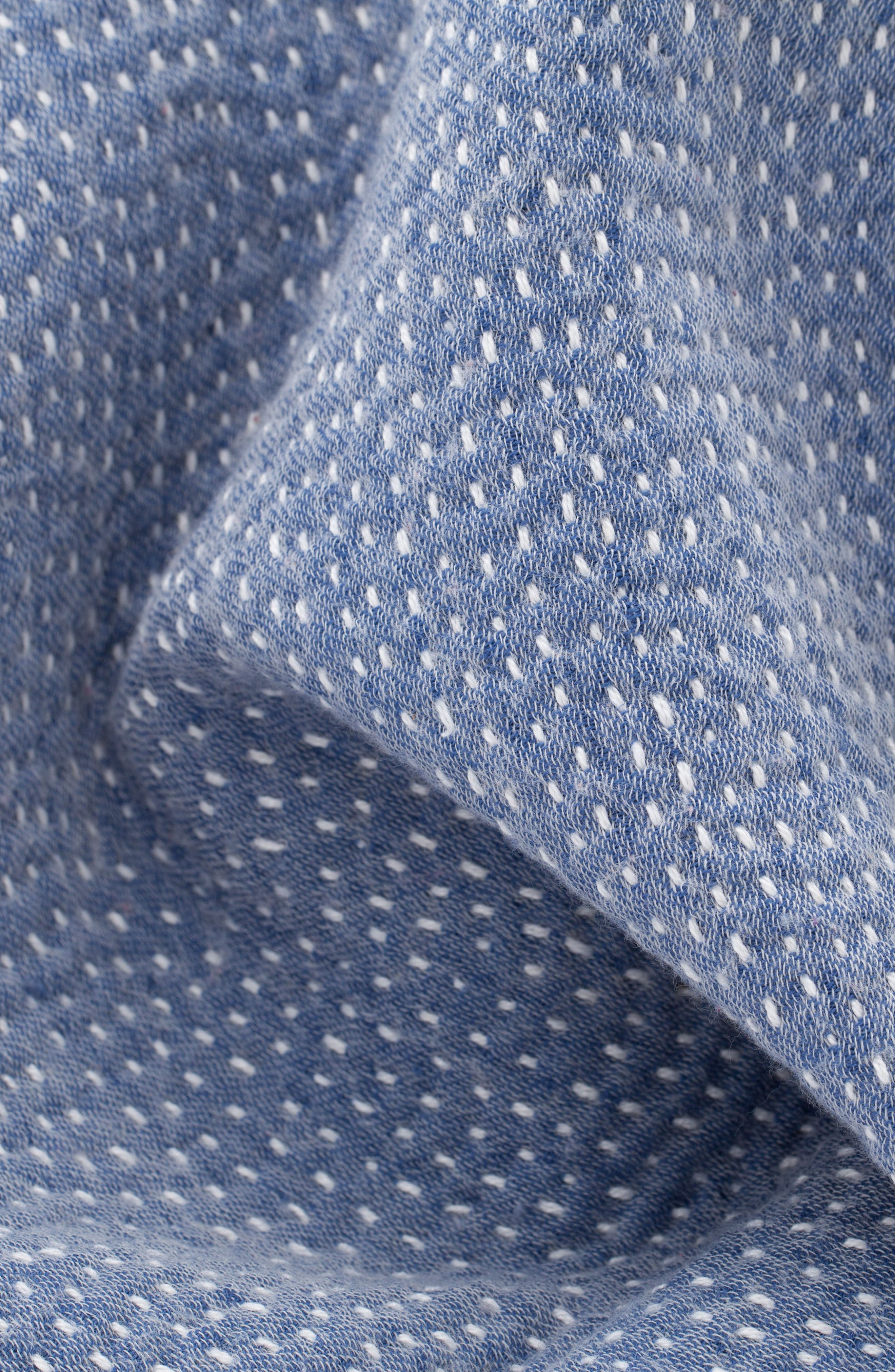 Hand Embroidered Merino Wool Blanket,                             Alternate thumbnail 2, color,                             CHAMBRAY