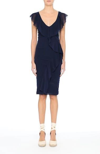 Ruffle V-Neck Body-Con Dress, video thumbnail