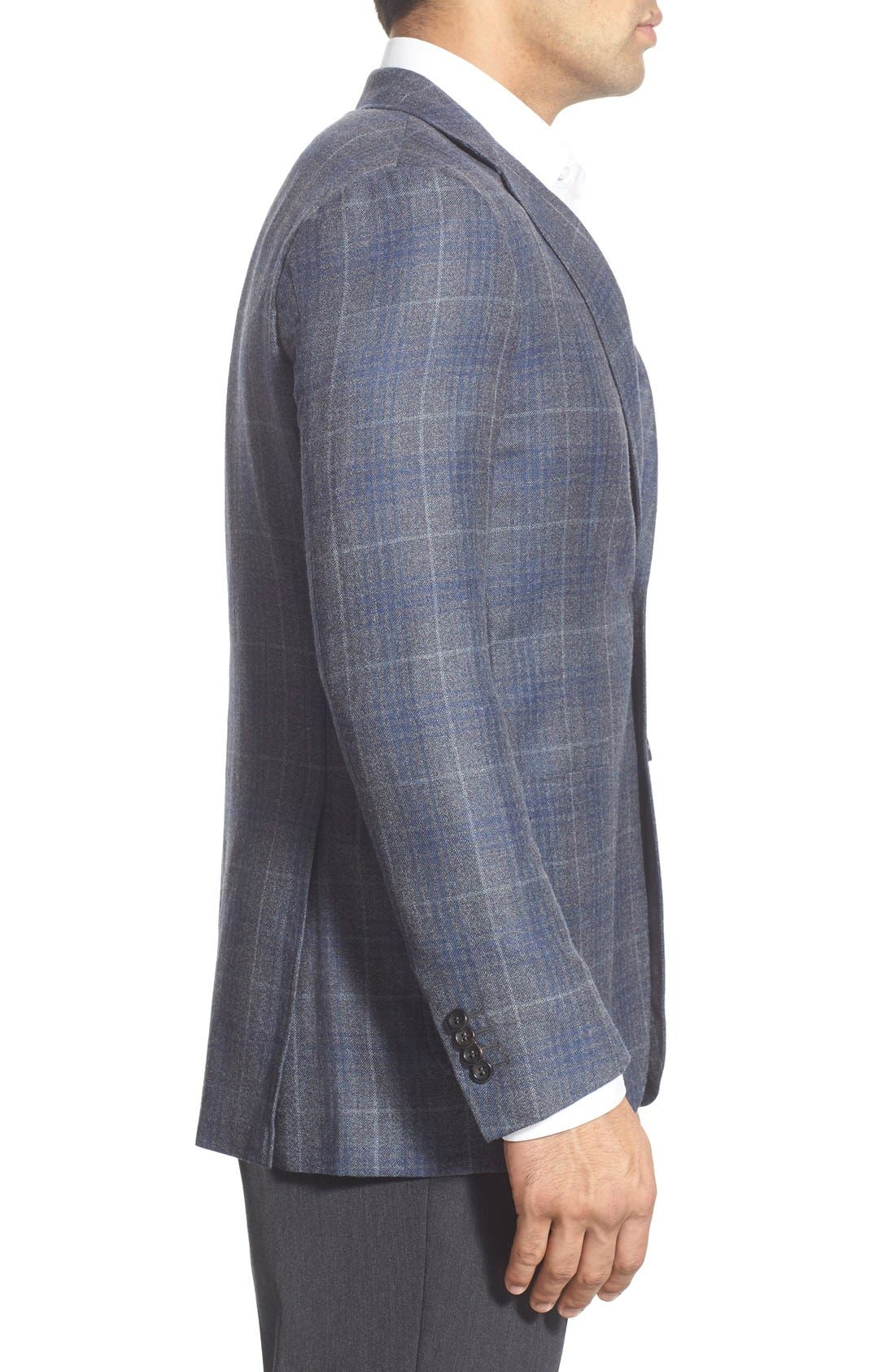 CANALI,                             Classic Fit Plaid Wool Sport Coat,                             Alternate thumbnail 4, color,                             030
