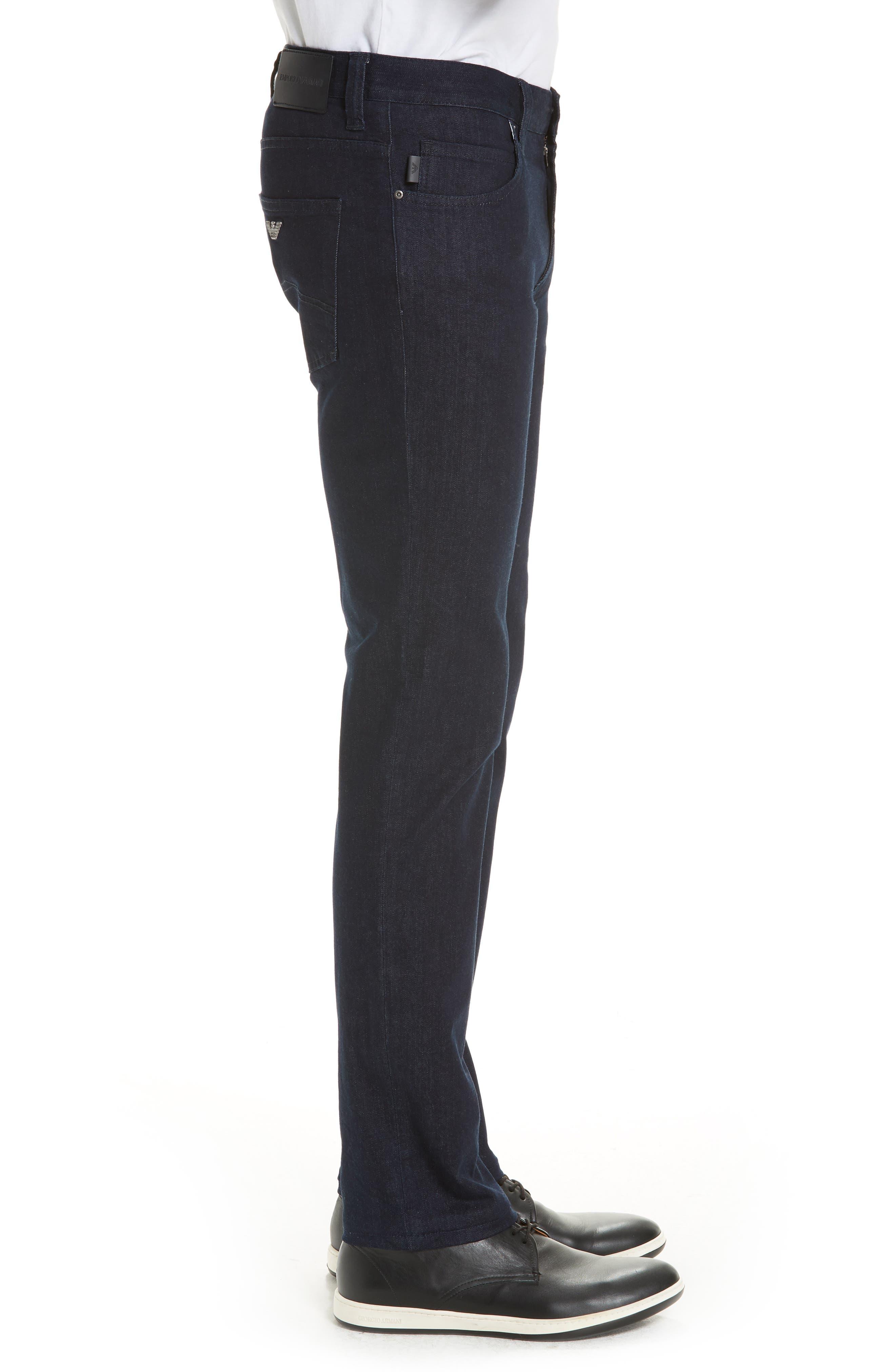Straight Leg Stretch Jeans,                             Alternate thumbnail 3, color,                             DARK BLUE