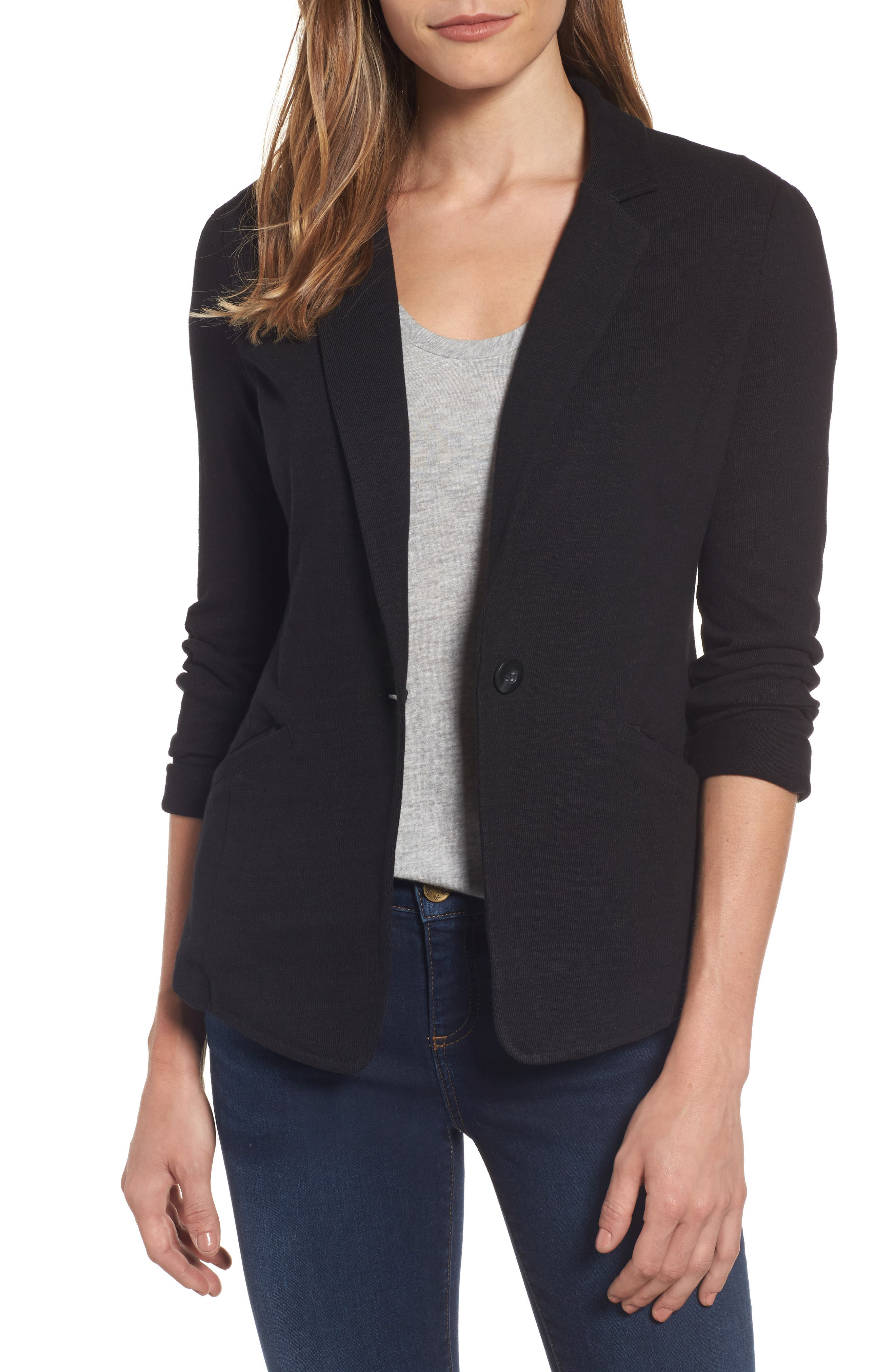 CASLON<SUP>®</SUP>,                             Knit One-Button Blazer,                             Main thumbnail 1, color,                             BLACK