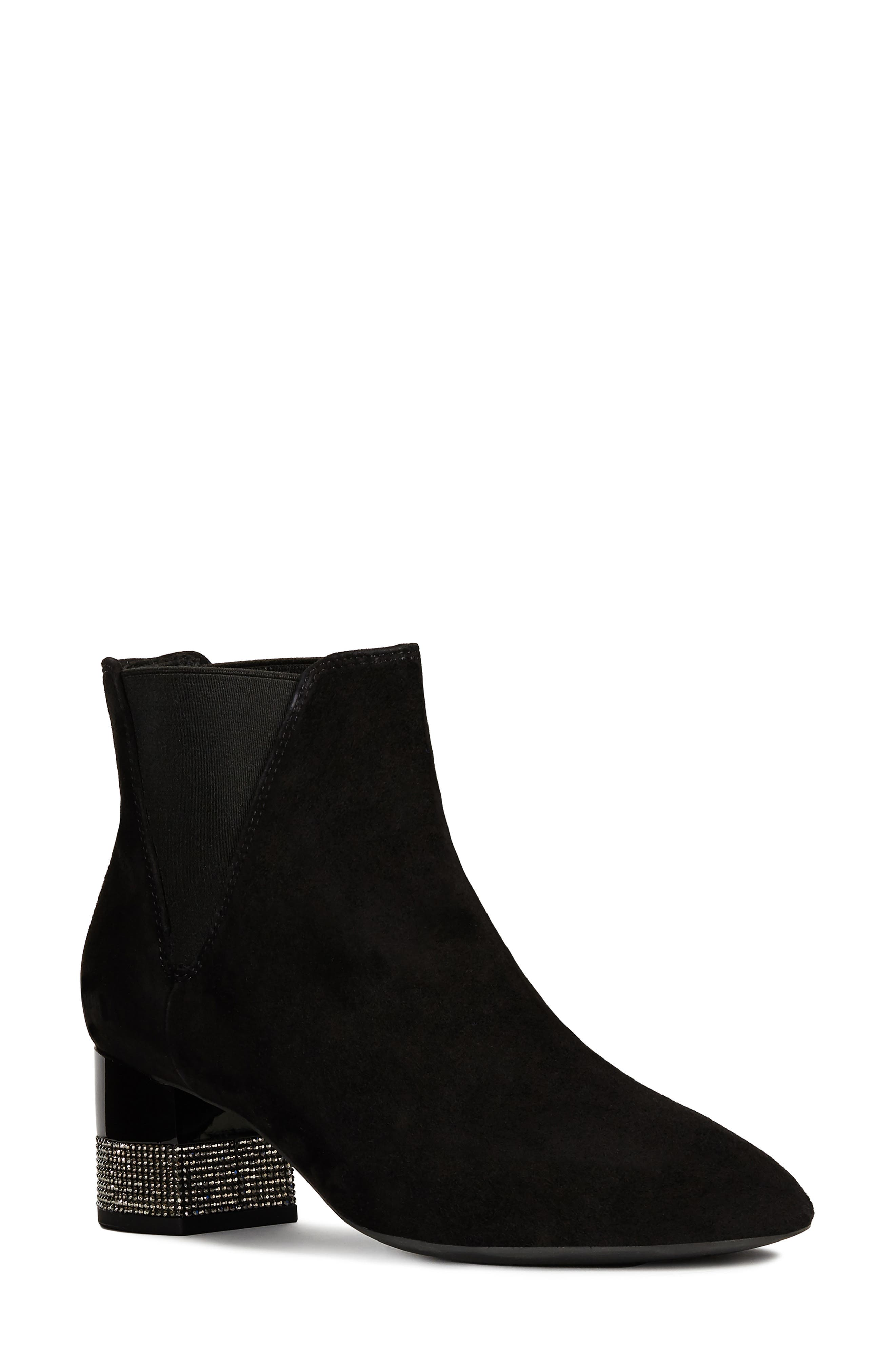 GEOX Chloo Chelsea Waterproof Waterproof Bootie, Main, color, BLACK SUEDE