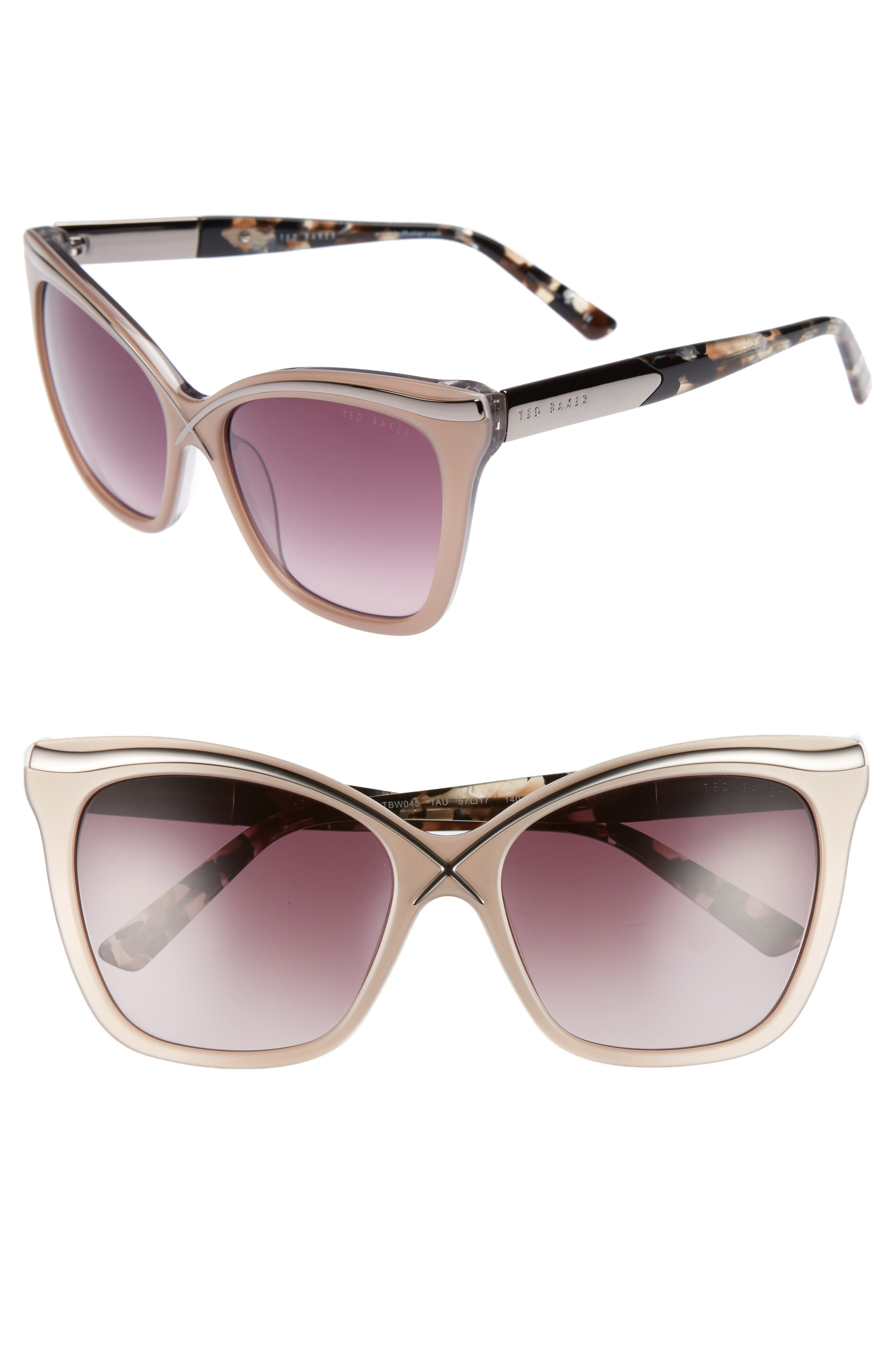 57mm Square Cat Eye Sunglasses,                             Main thumbnail 3, color,