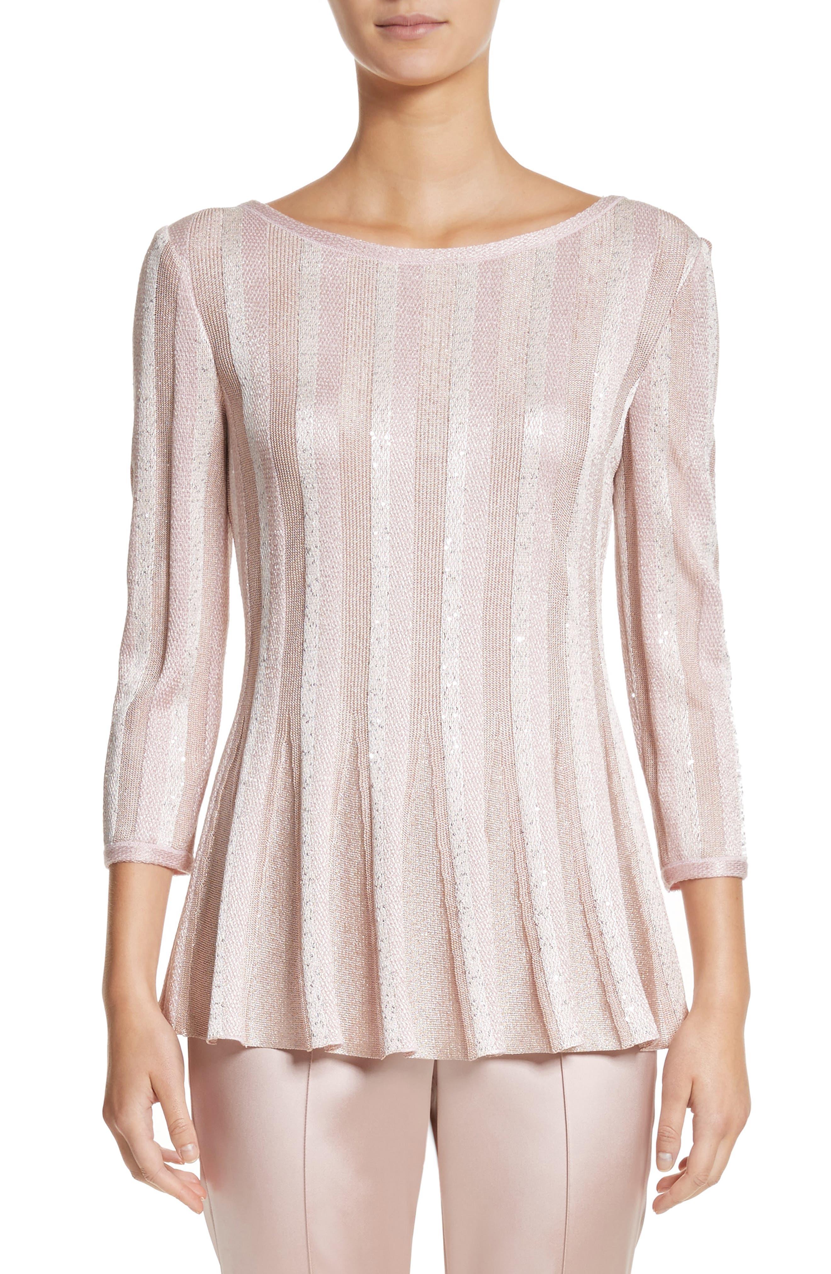 Ombré Sequin Stripe Knit Top,                         Main,                         color, 650