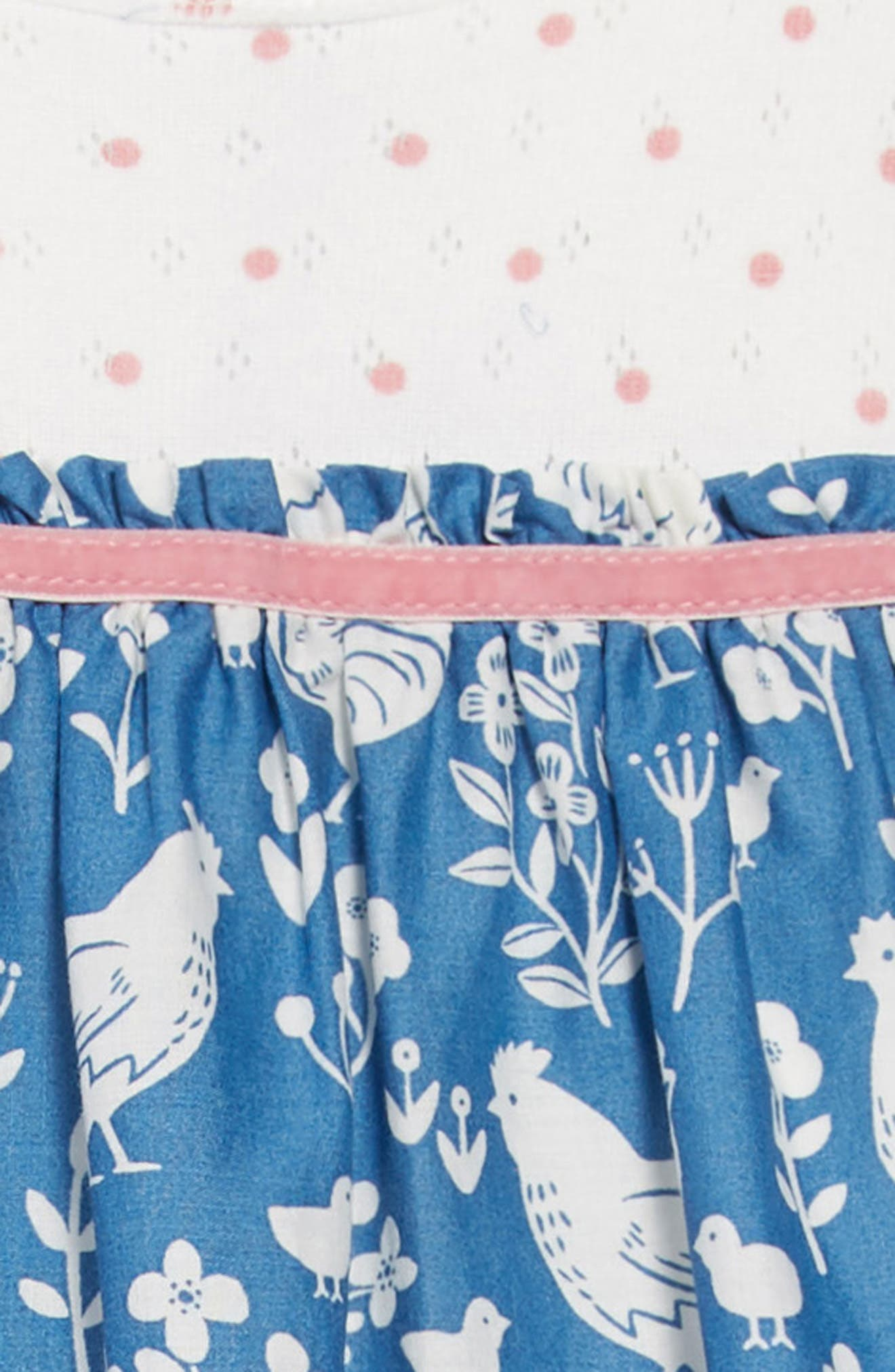 Pointelle & Woven Dress,                             Alternate thumbnail 3, color,                             AZURE/ FARMYARD/ TOILE