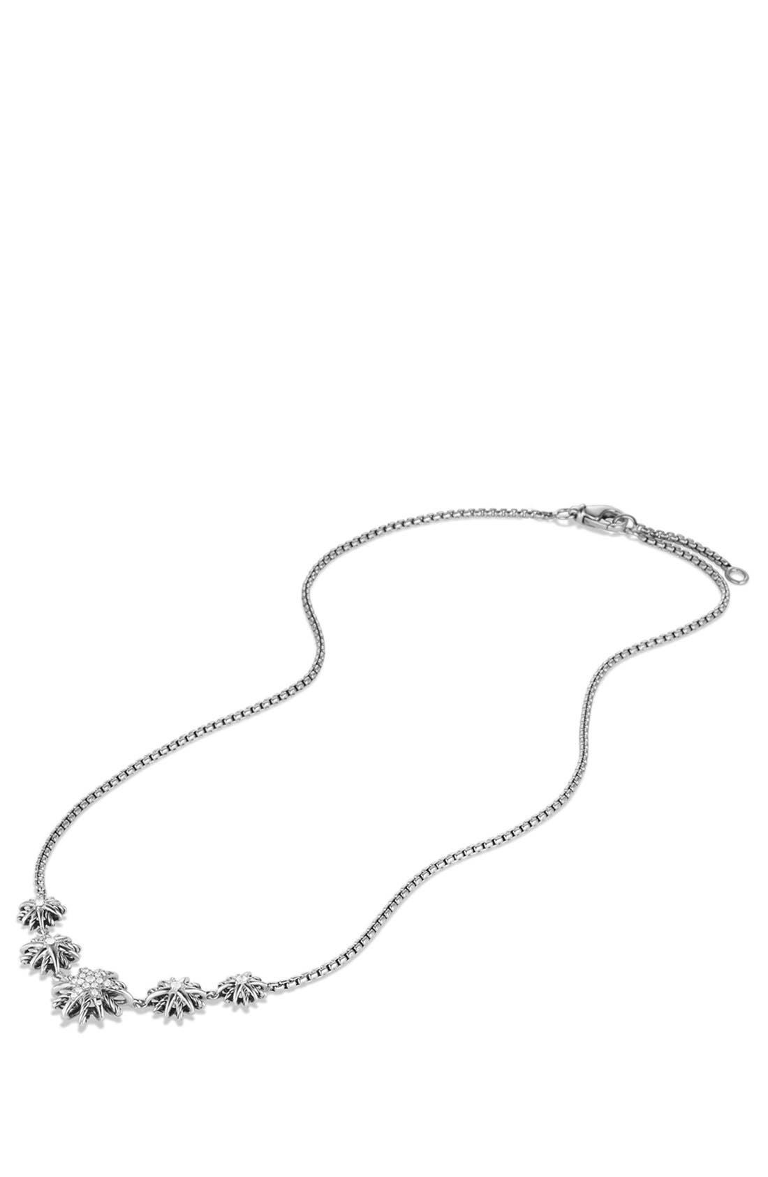 'Starburst' Five-Station Necklace with Diamonds,                             Alternate thumbnail 2, color,                             STERLING SILVER