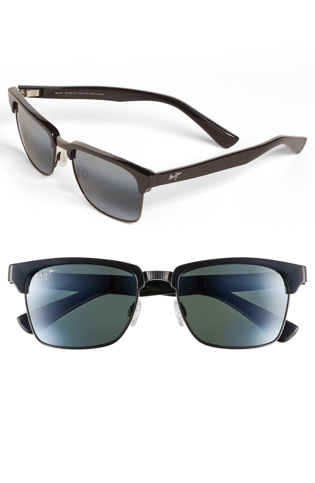 'Kawika - PolarizedPlus<sup>®</sup>2' 54mm Sunglasses,                             Main thumbnail 1, color,                             BLACK GLOSS/ PEWTER