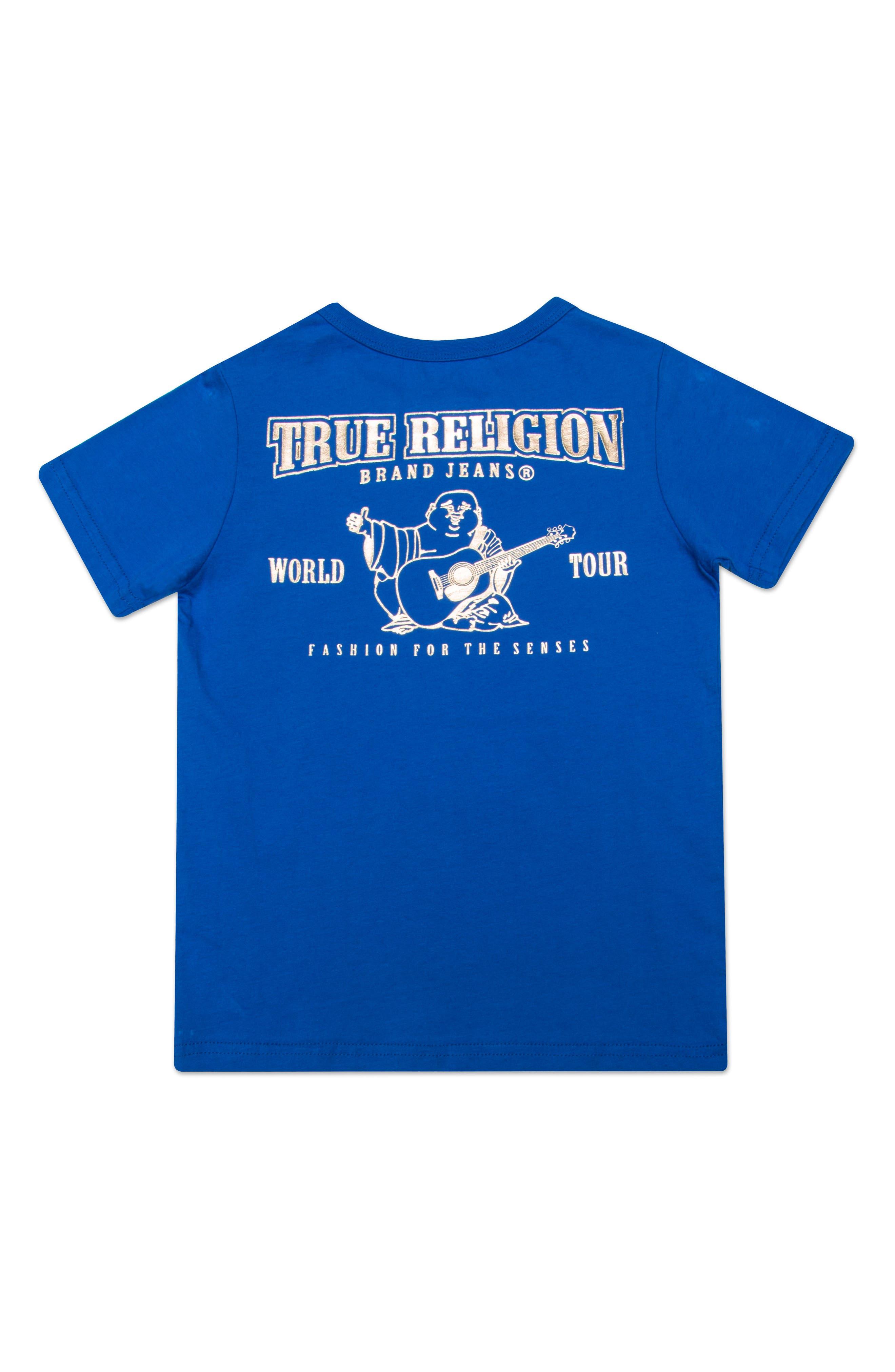Gold Buddha Logo T-Shirt,                             Alternate thumbnail 2, color,                             BRIGHT BLUE