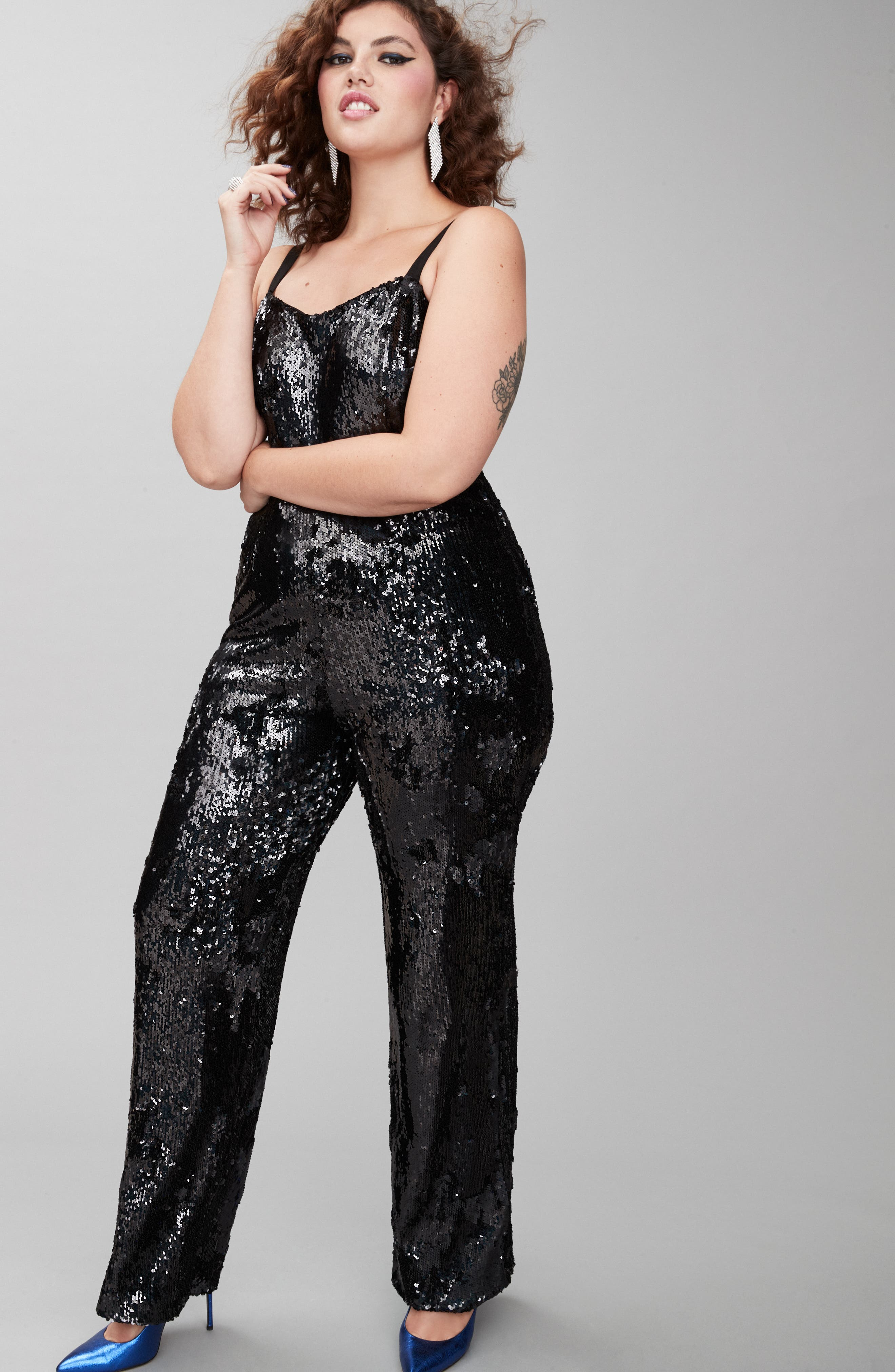 Victoria Sequin Jumpsuit,                             Alternate thumbnail 11, color,                             BLACK PEARL