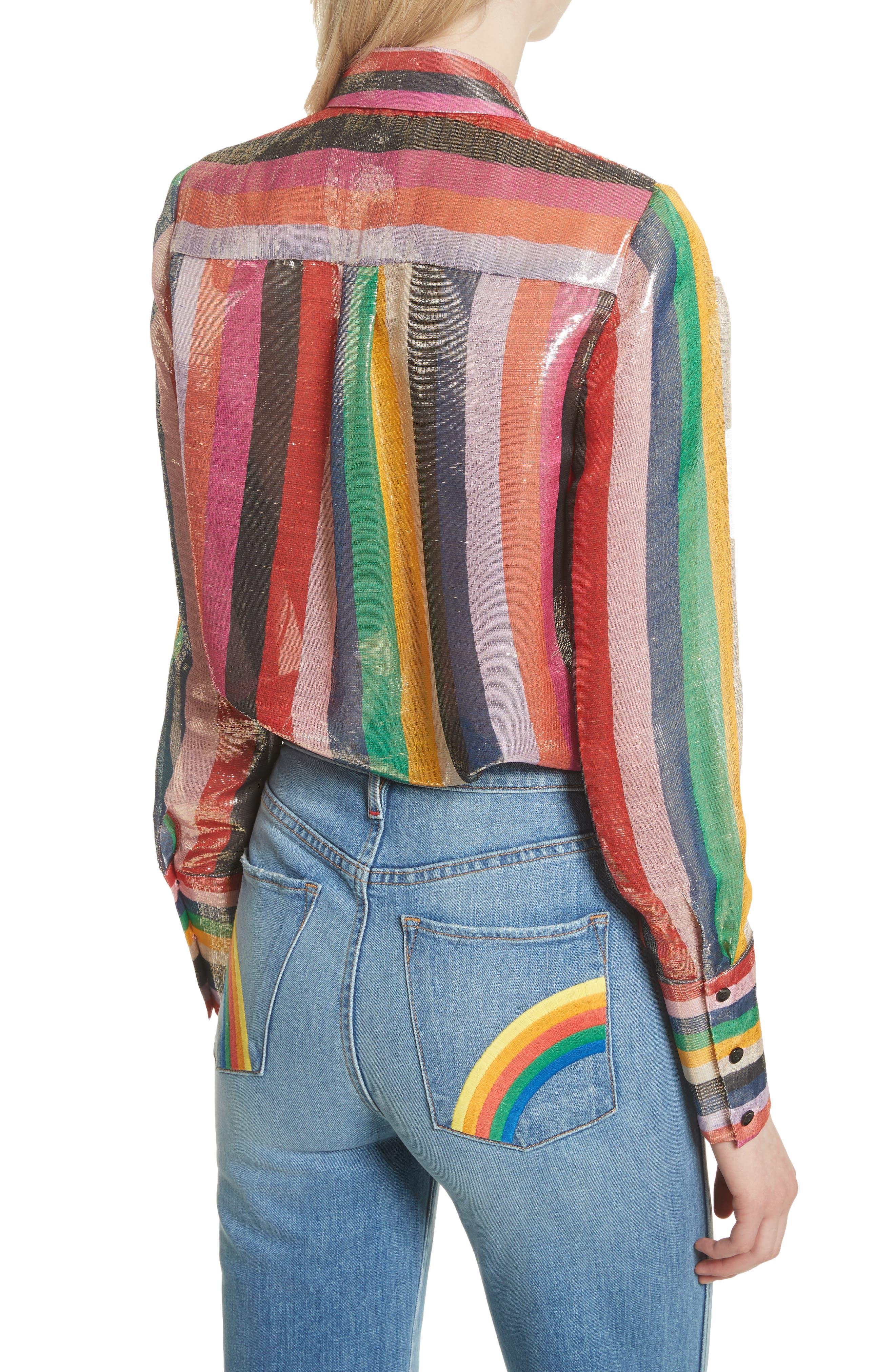 Metallic Stripe Shirt,                             Alternate thumbnail 2, color,
