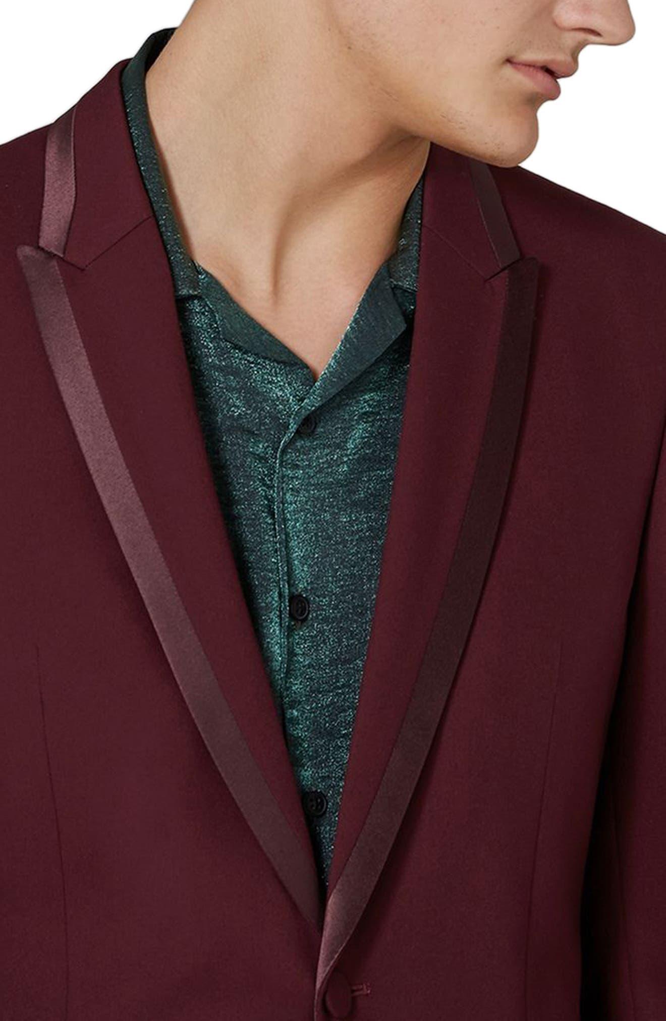 Skinny Fit Burgundy Tuxedo Jacket,                             Alternate thumbnail 3, color,