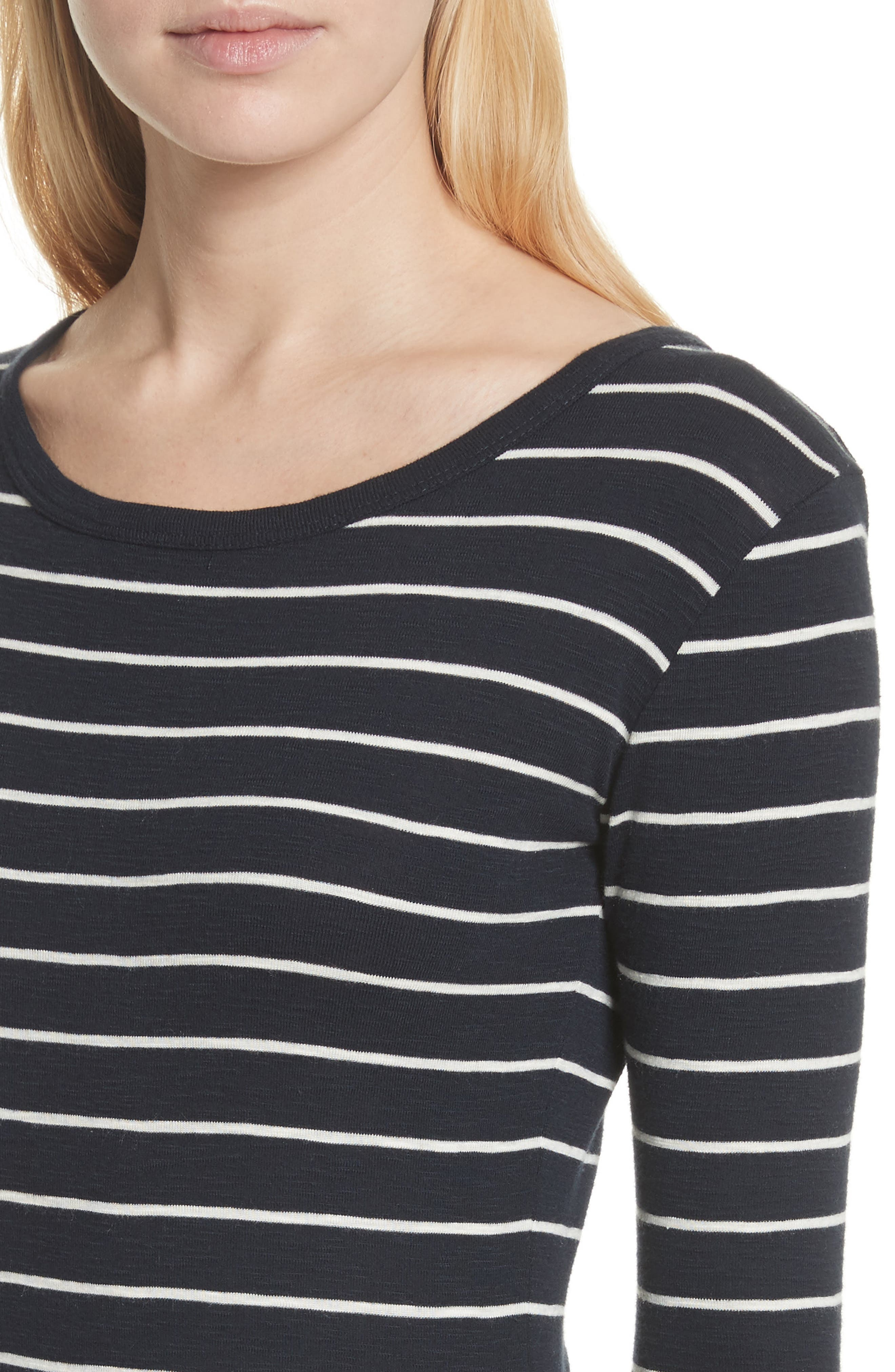 Chalk Stripe Fitted Crewneck Tee,                             Alternate thumbnail 4, color,                             467