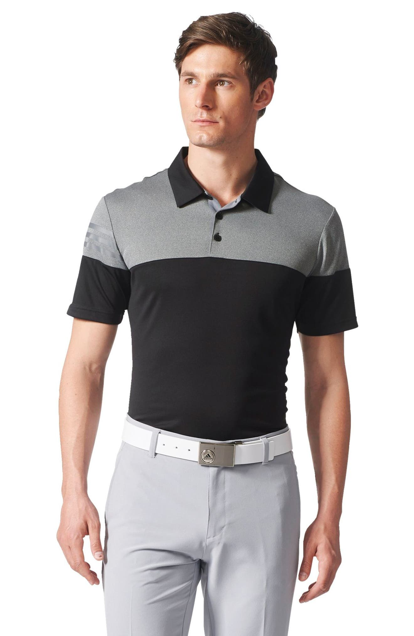 3 Stripe Block Golf Polo,                             Alternate thumbnail 5, color,                             001