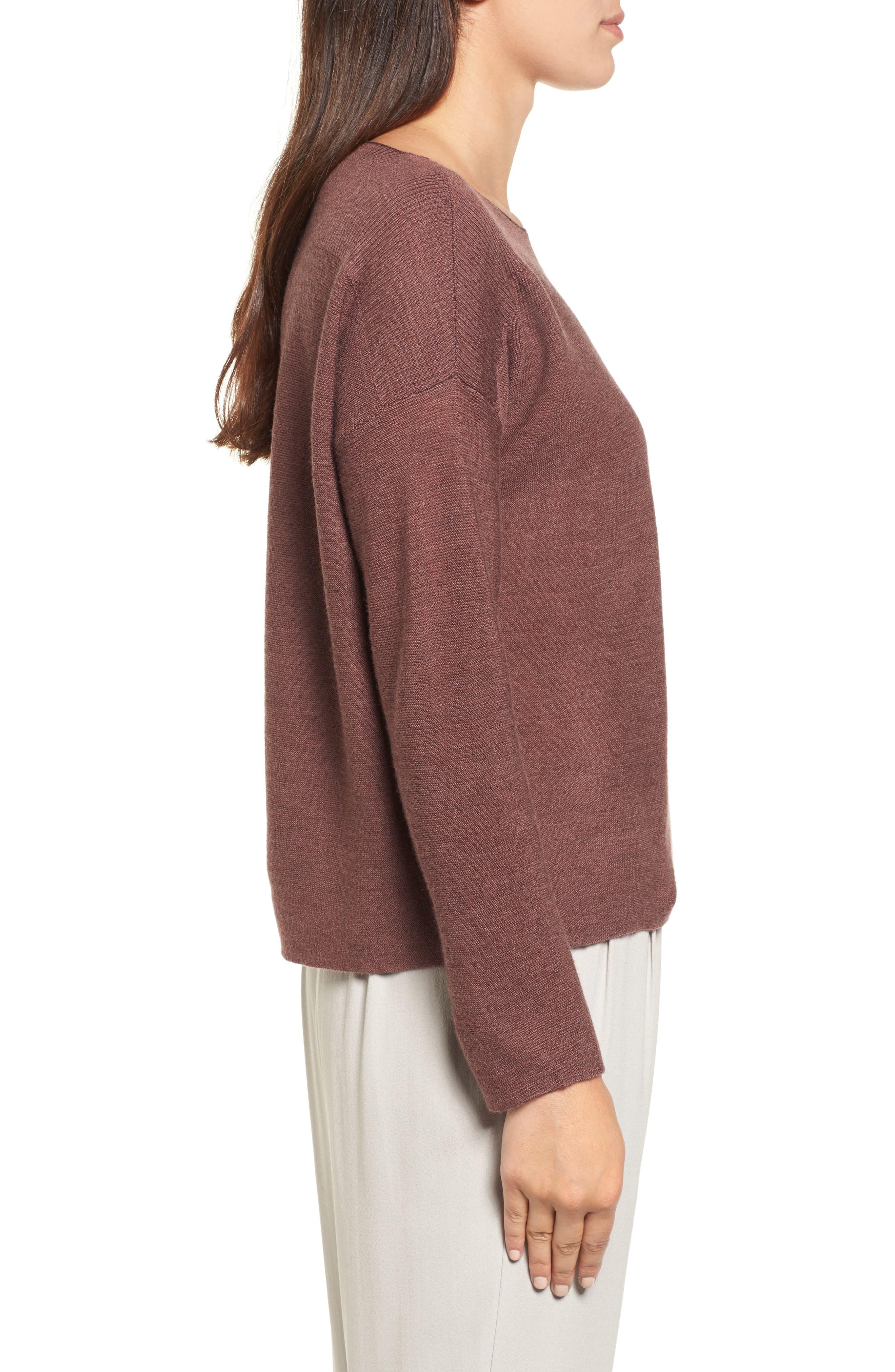Mix Stitch Merino Bateau Neck Sweater,                             Alternate thumbnail 3, color,                             216