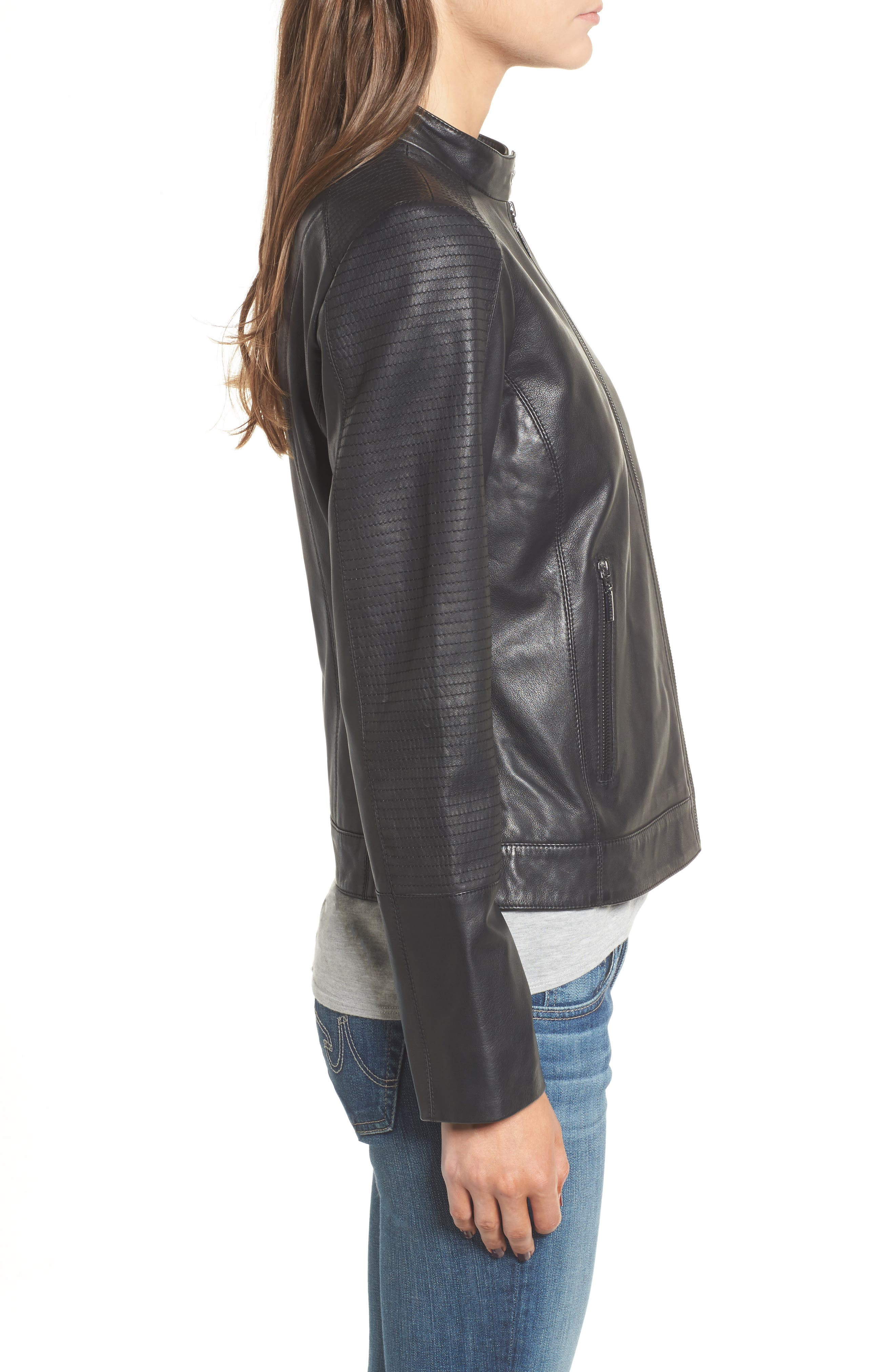 Kirwin Leather Moto Jacket,                             Alternate thumbnail 3, color,                             001