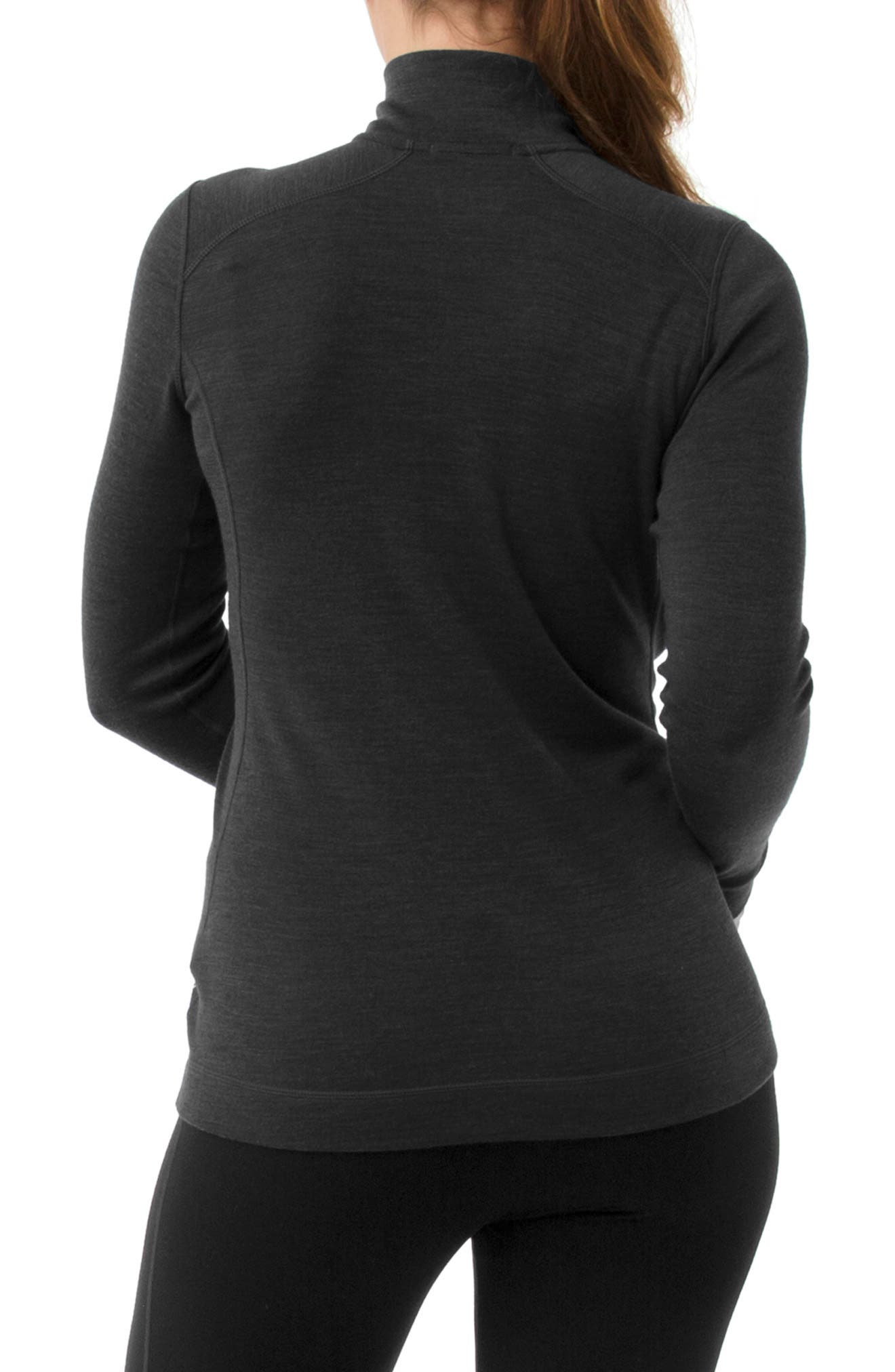 Merino 250 Base Pattern Layer Quarter Zip Top,                             Alternate thumbnail 2, color,                             CHARCOAL HEATHER