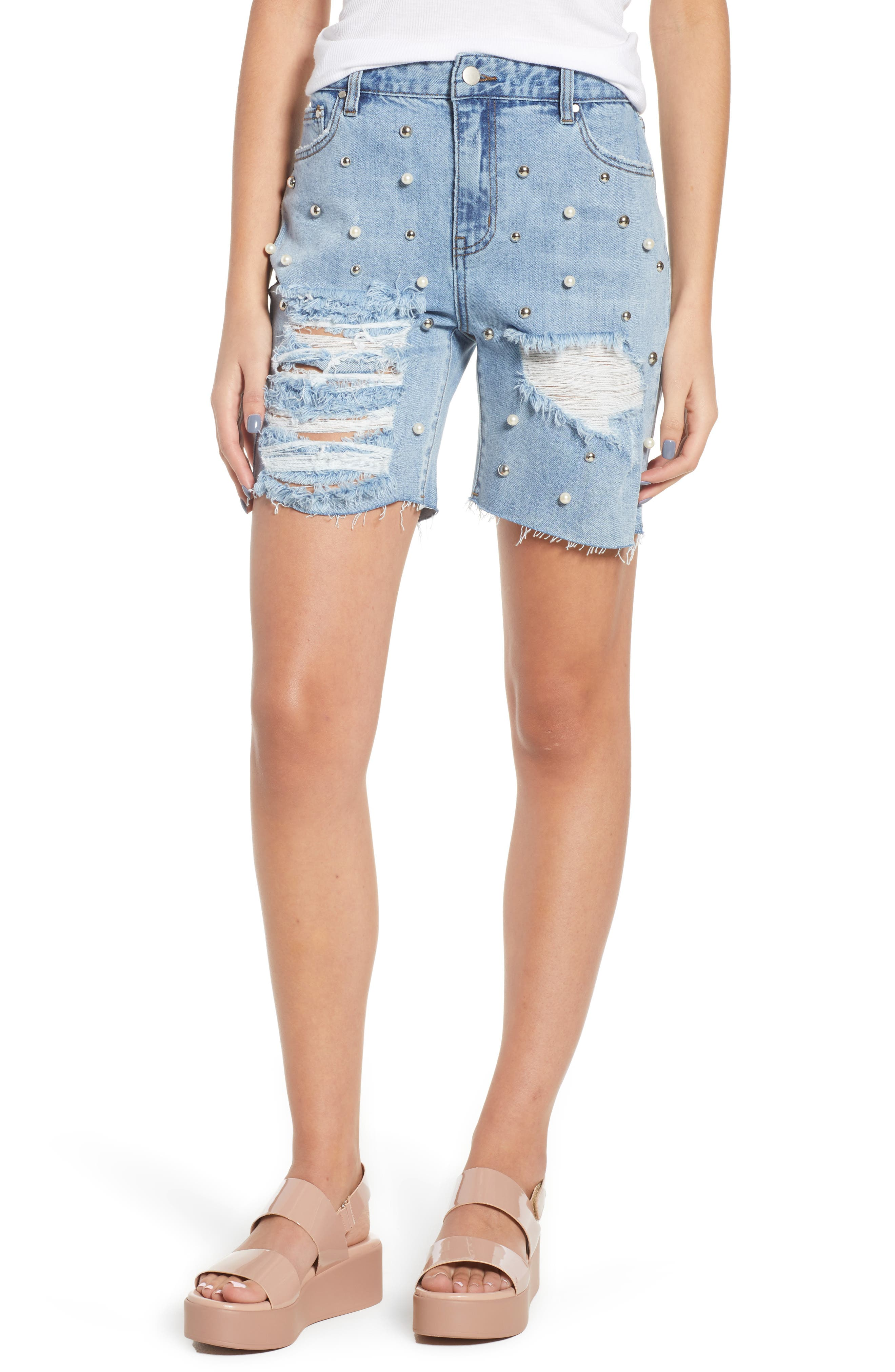 Imitation Pearl & Stud Ripped Denim Bermuda Shorts,                         Main,                         color, 400