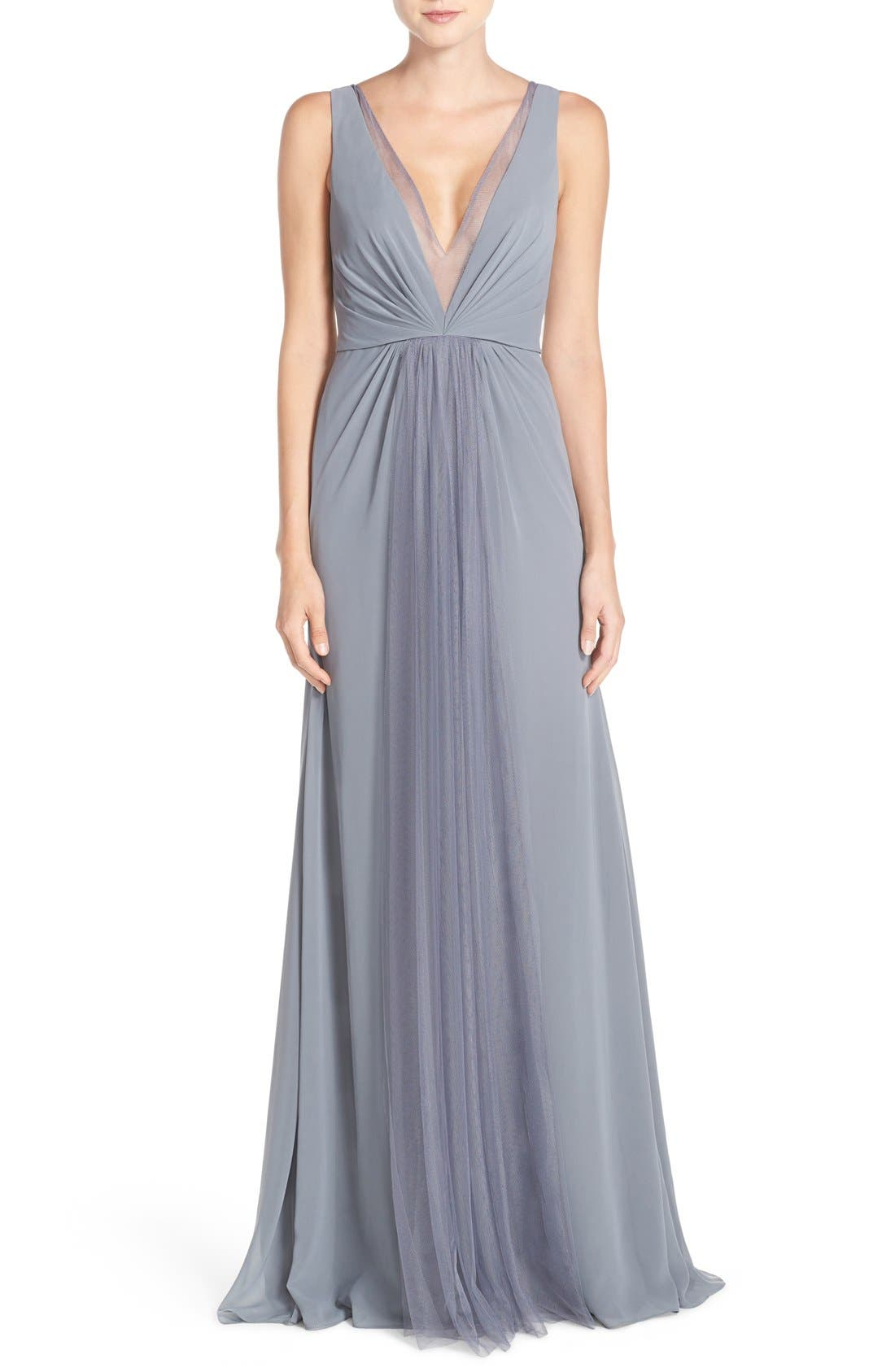 Deep V-Neck Chiffon & Tulle Gown,                             Main thumbnail 4, color,
