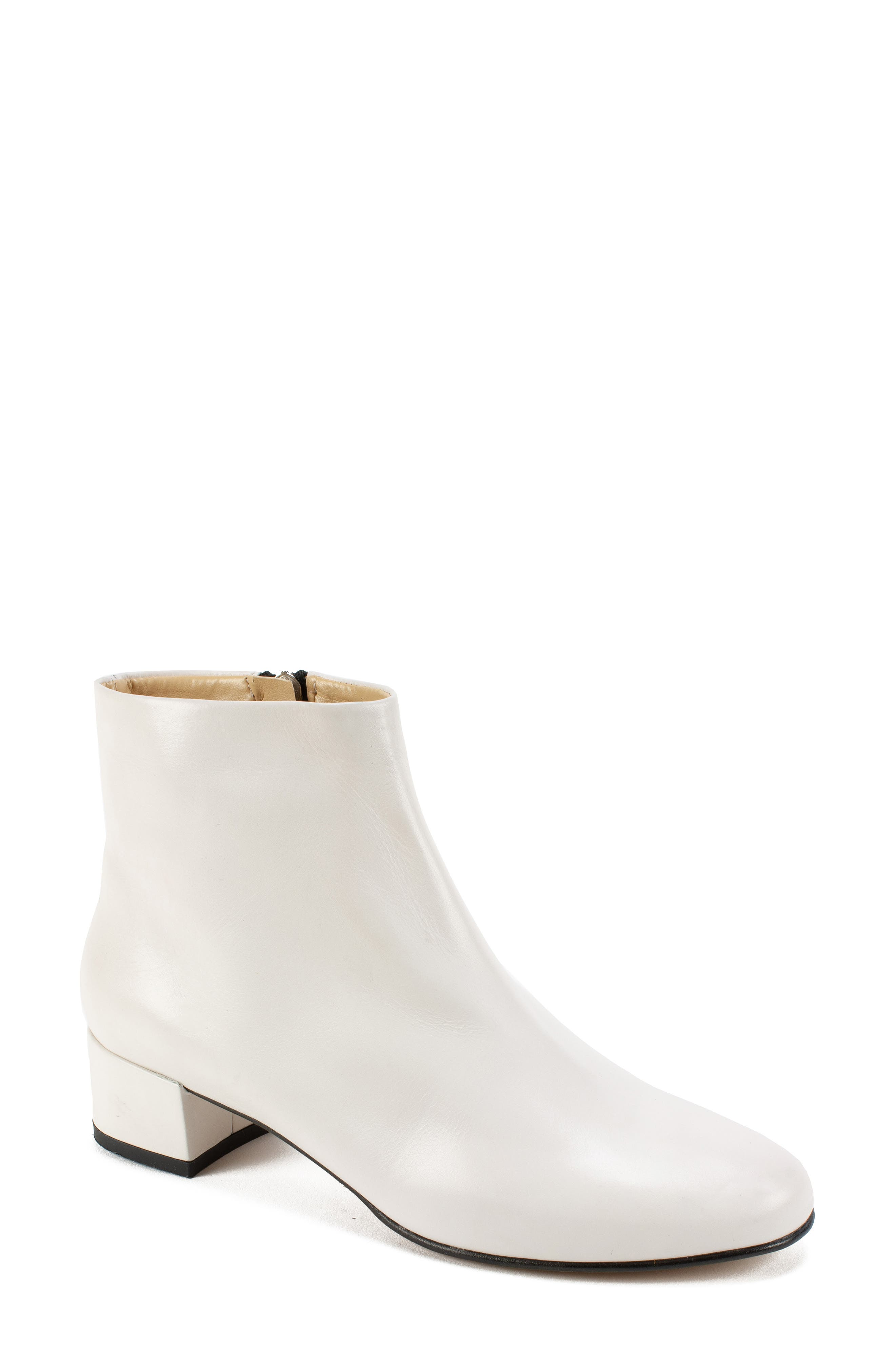 by White Mountain Jordie Block Heel Bootie,                         Main,                         color, WHITE LEATHER